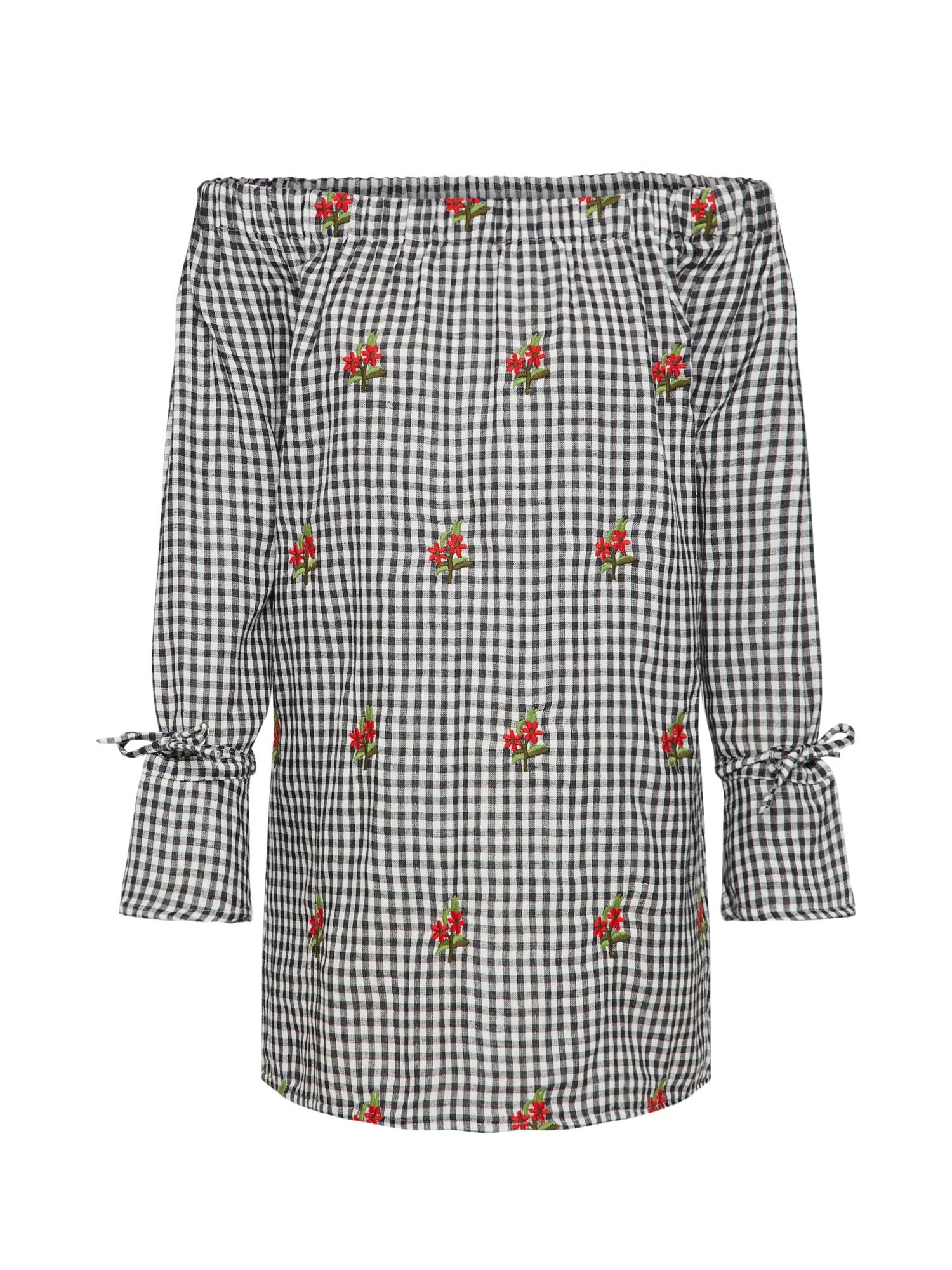 Šaty Rita Gingham Embroidered Shift černá bílá Boohoo