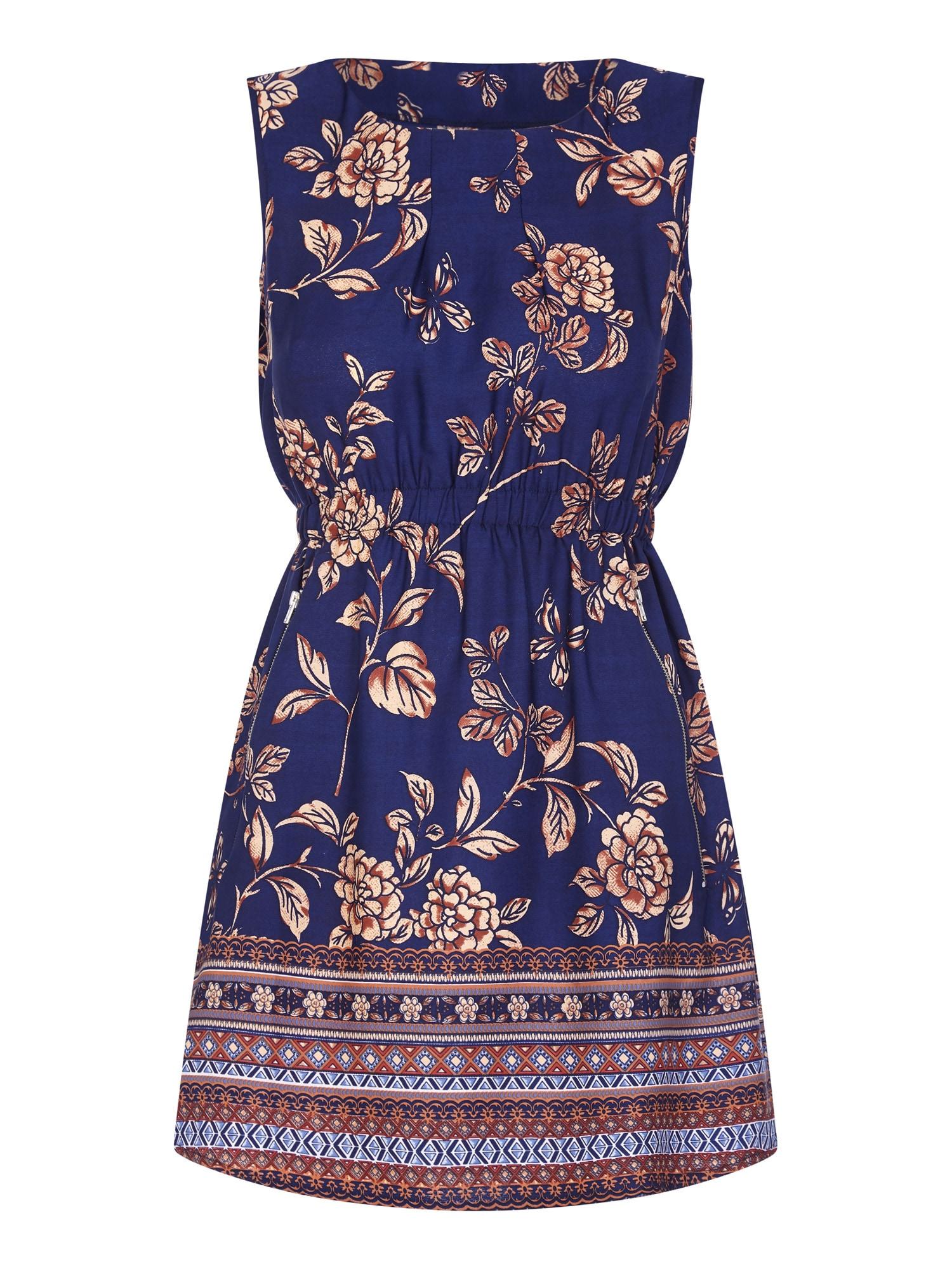 Šaty BORDER PRINT 2 ZIP DRESS námořnická modř mix barev Mela London