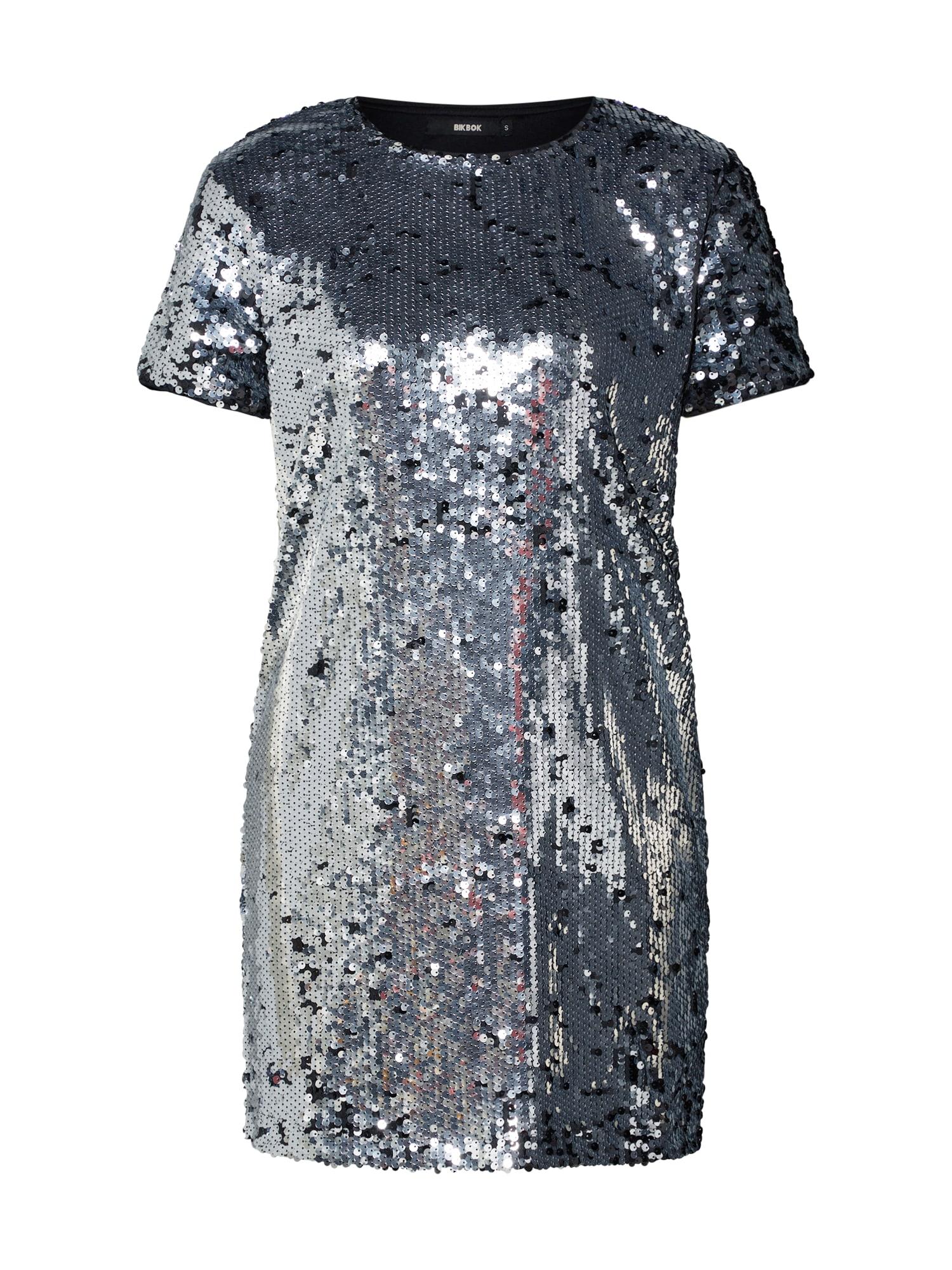 Koktejlové šaty DK SUSAN stříbrná Bik Bok