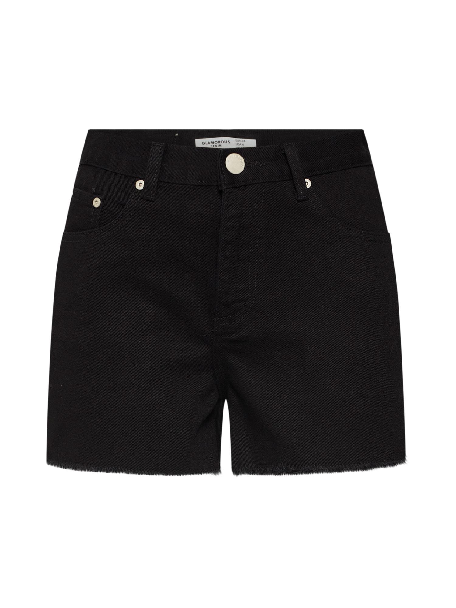 Kalhoty KA6117 černá džínovina GLAMOROUS