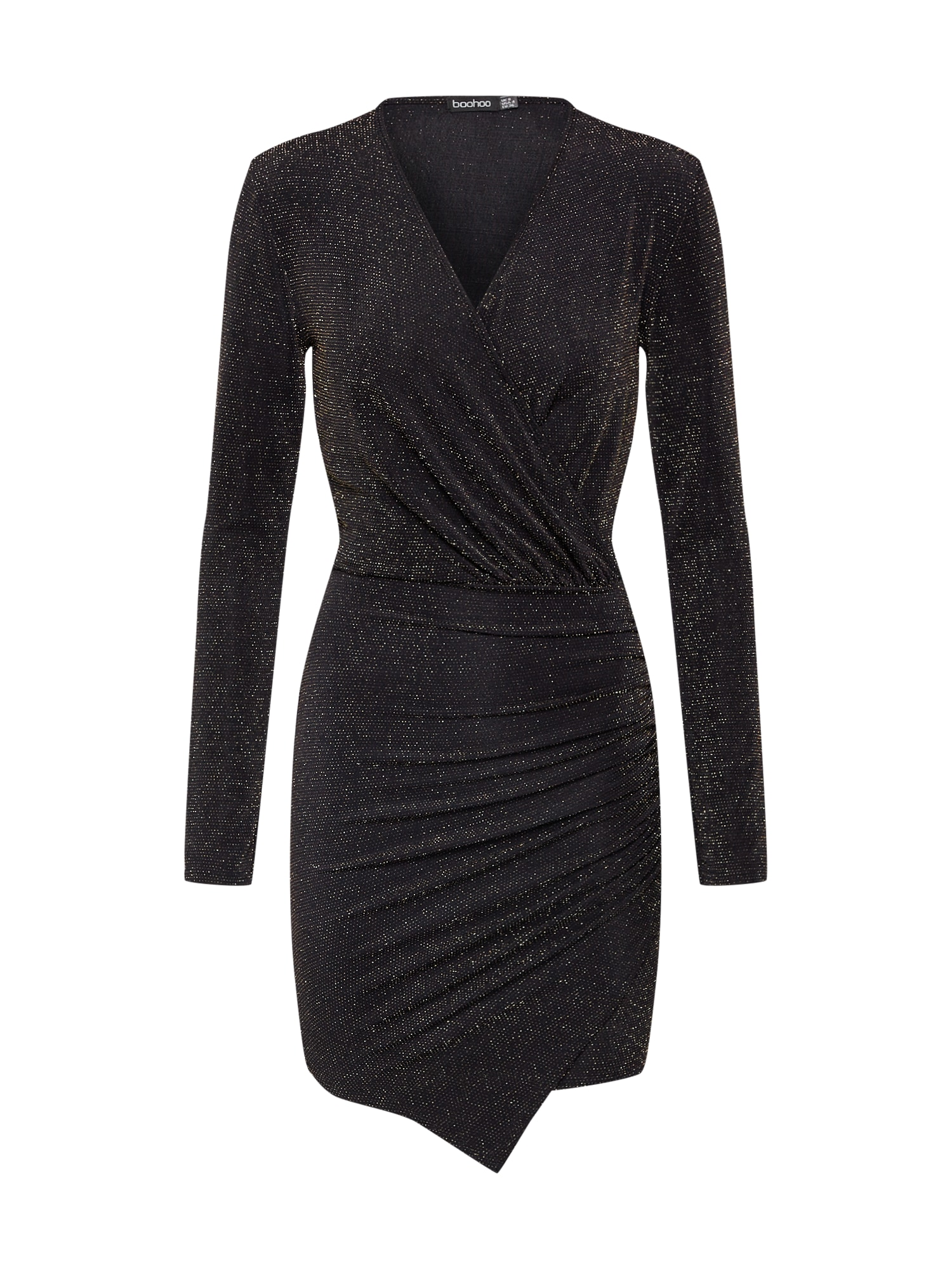 Boohoo Kokteilinė suknelė 'Glitter' juoda