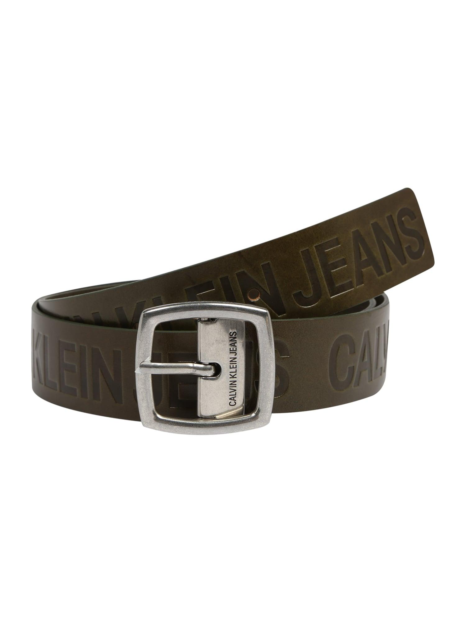Calvin Klein Jeans Diržas 'J ADJUSTABLE LEATHER BELT 3.8CM' alyvuogių spalva