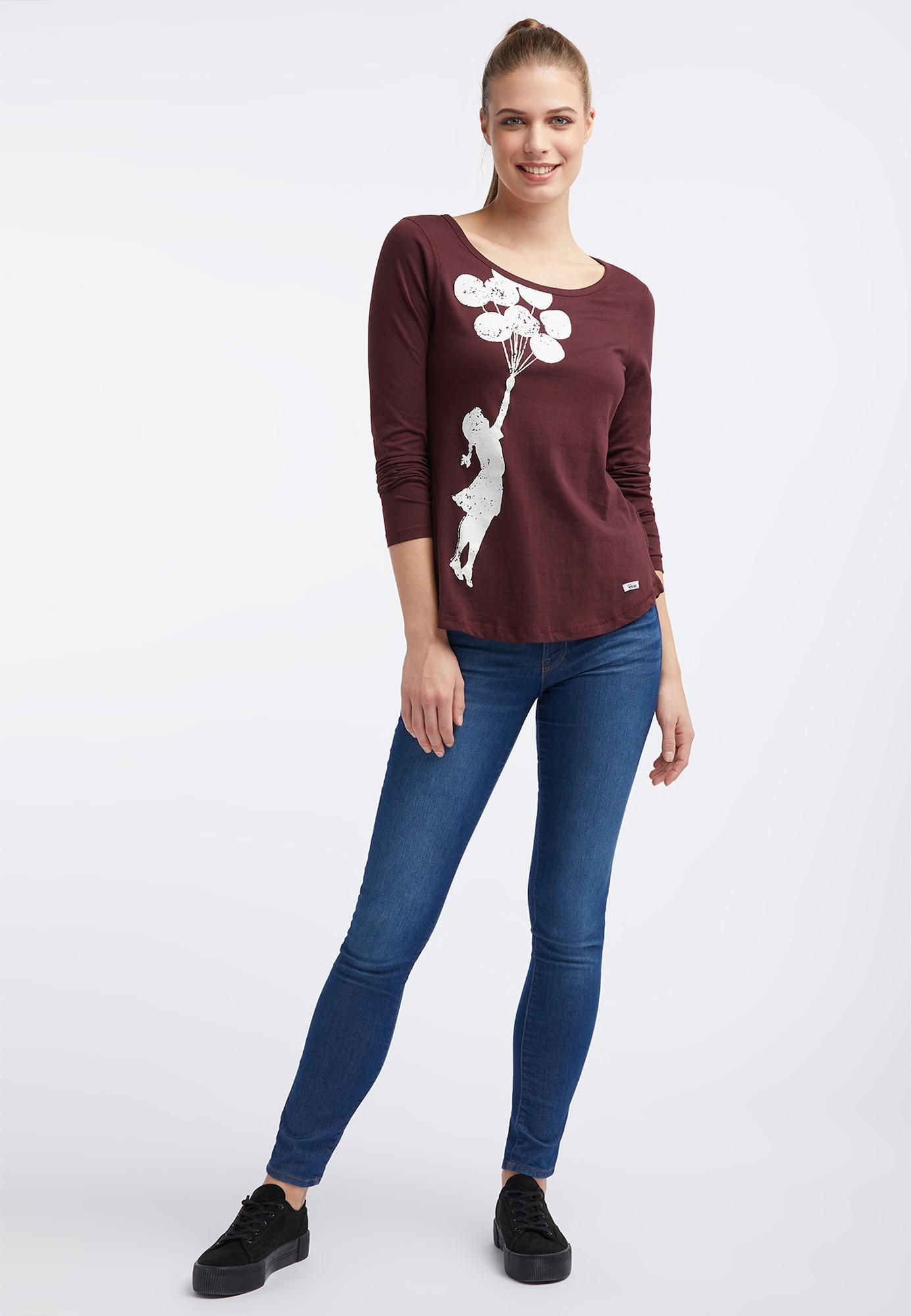 HOMEBASE, Damen Shirt, roodviolet / rood gemêleerd / wit