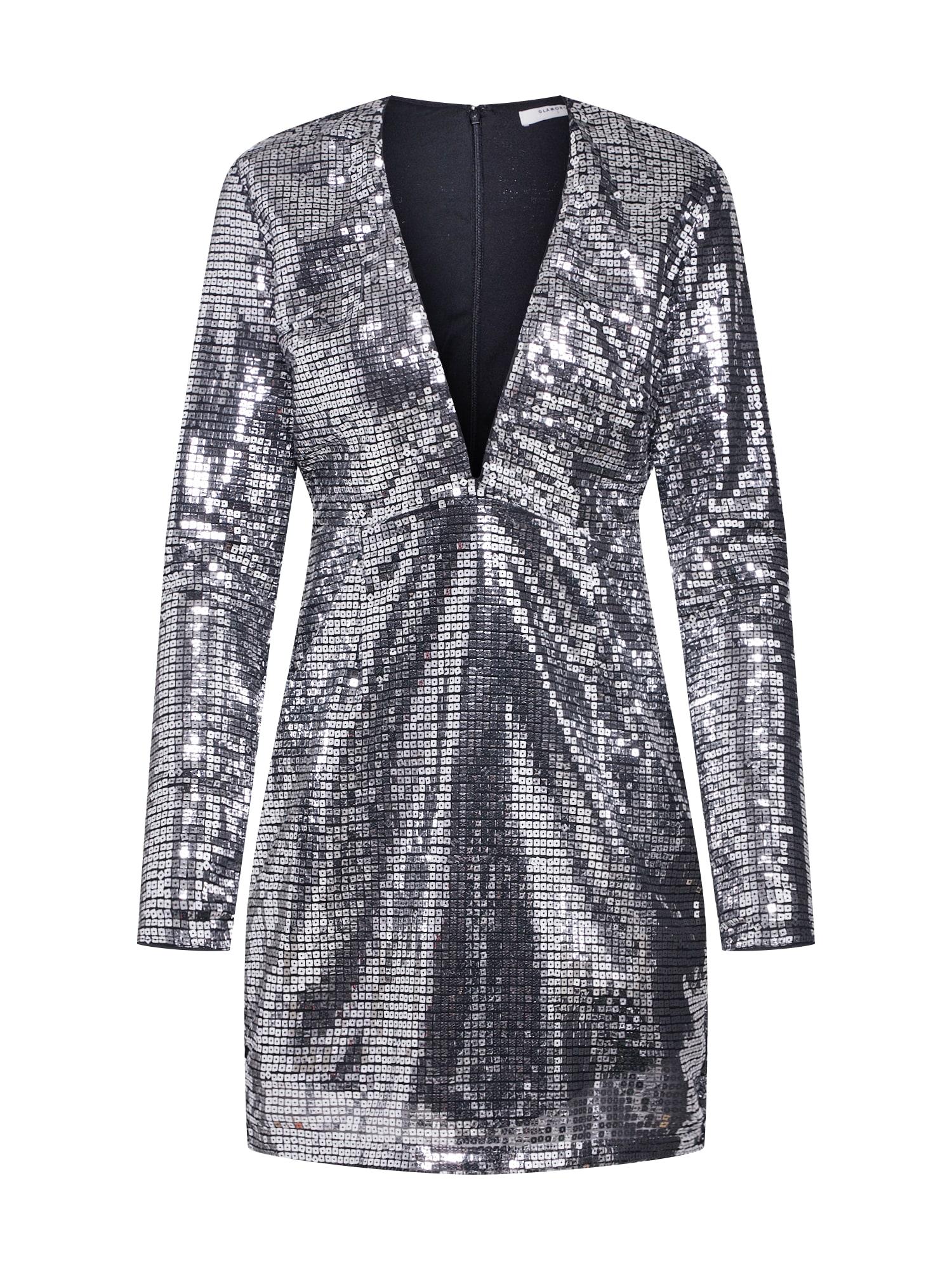 Koktejlové šaty LADIES DRESS stříbrná GLAMOROUS