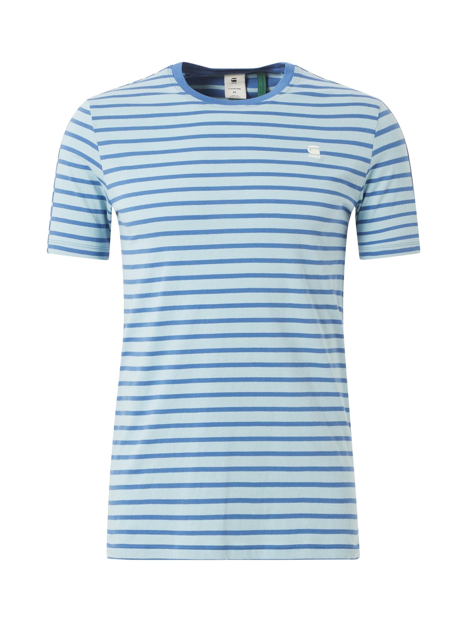 G-Star RAW Marškinėliai 'Korpaz stripe gr slim r t s\s' mėlyna / šviesiai mėlyna