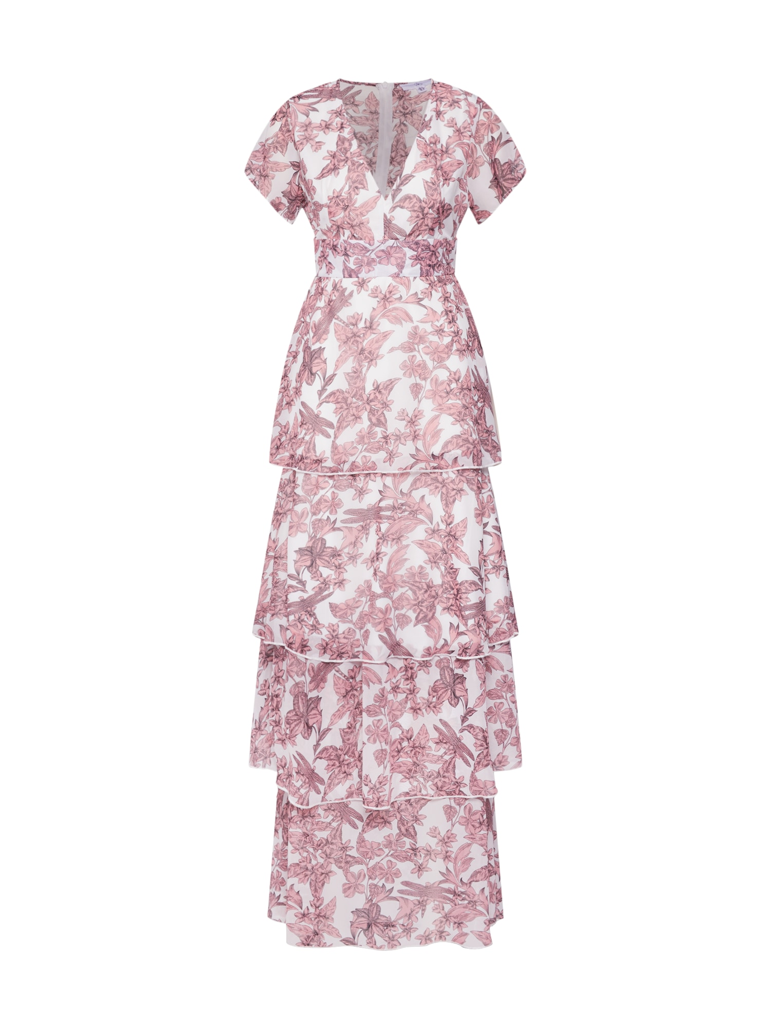 Missguided Rochie 'Floral Frill Layered'  roze / alb