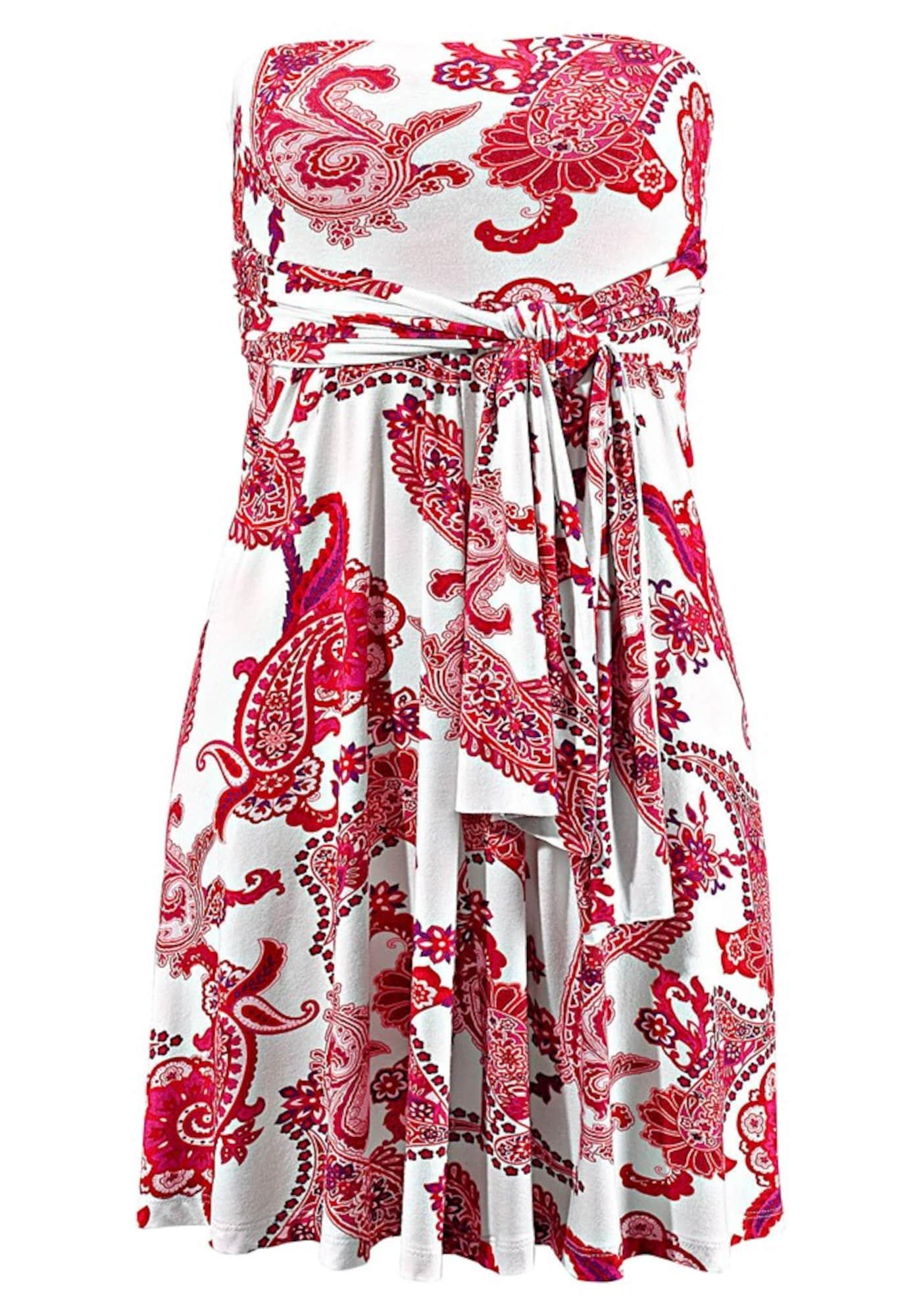 Plážové šaty červená bílá LASCANA