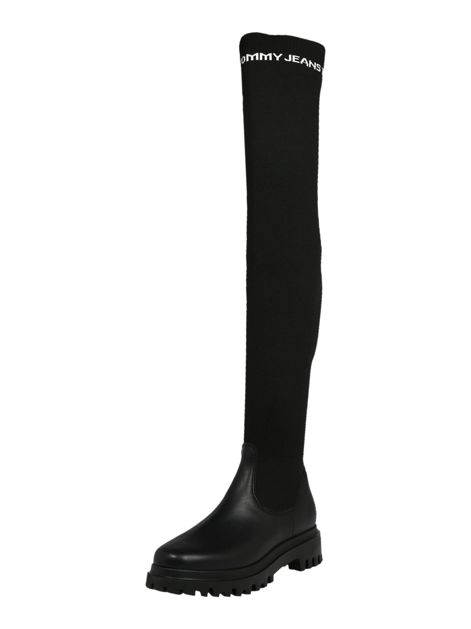 Tommy Jeans Ilgaauliai batai virš kelių balta / juoda