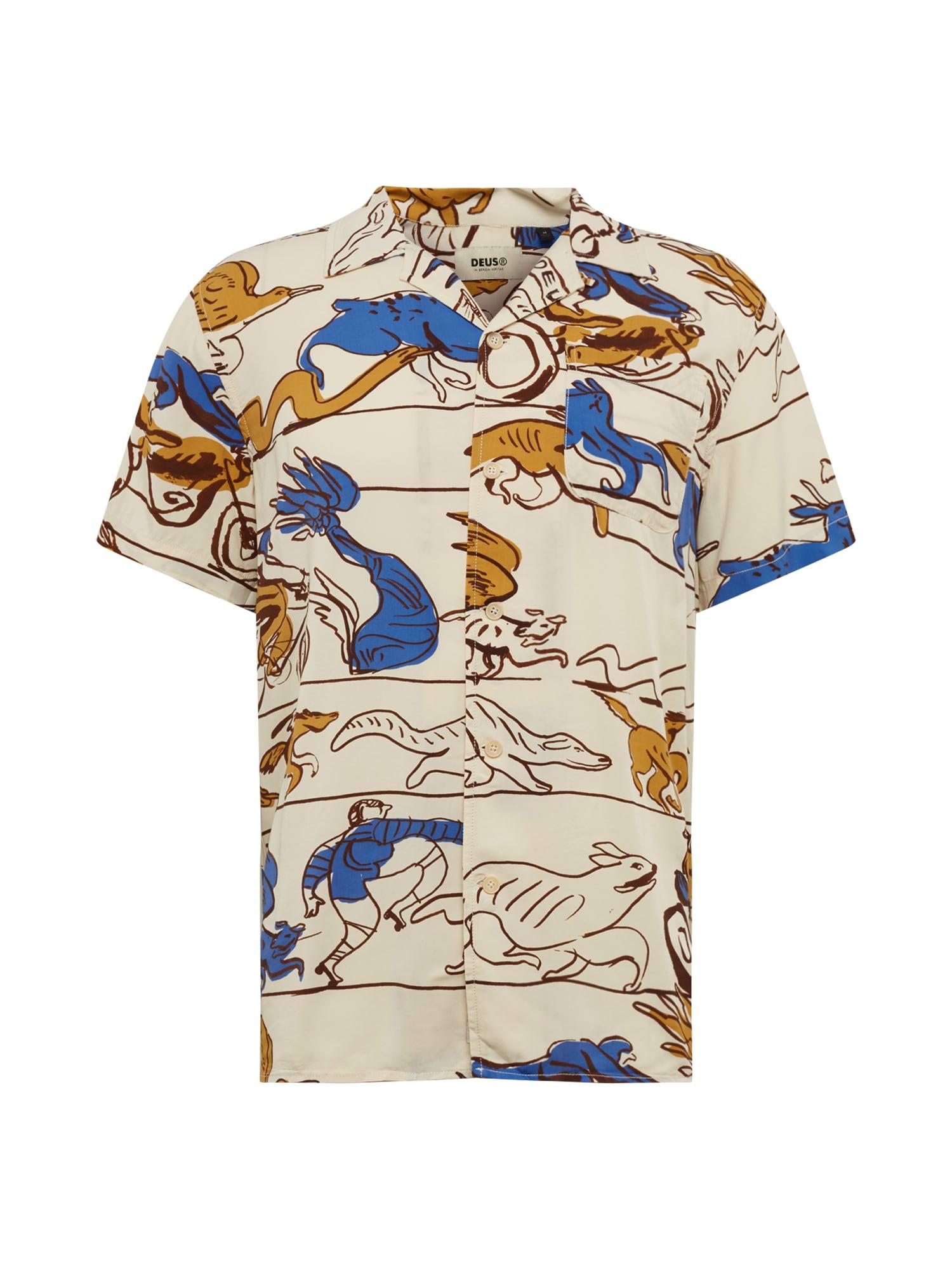 DEUS EX MACHINA Dalykiniai marškiniai 'Dean' smėlio / ruda / mėlyna