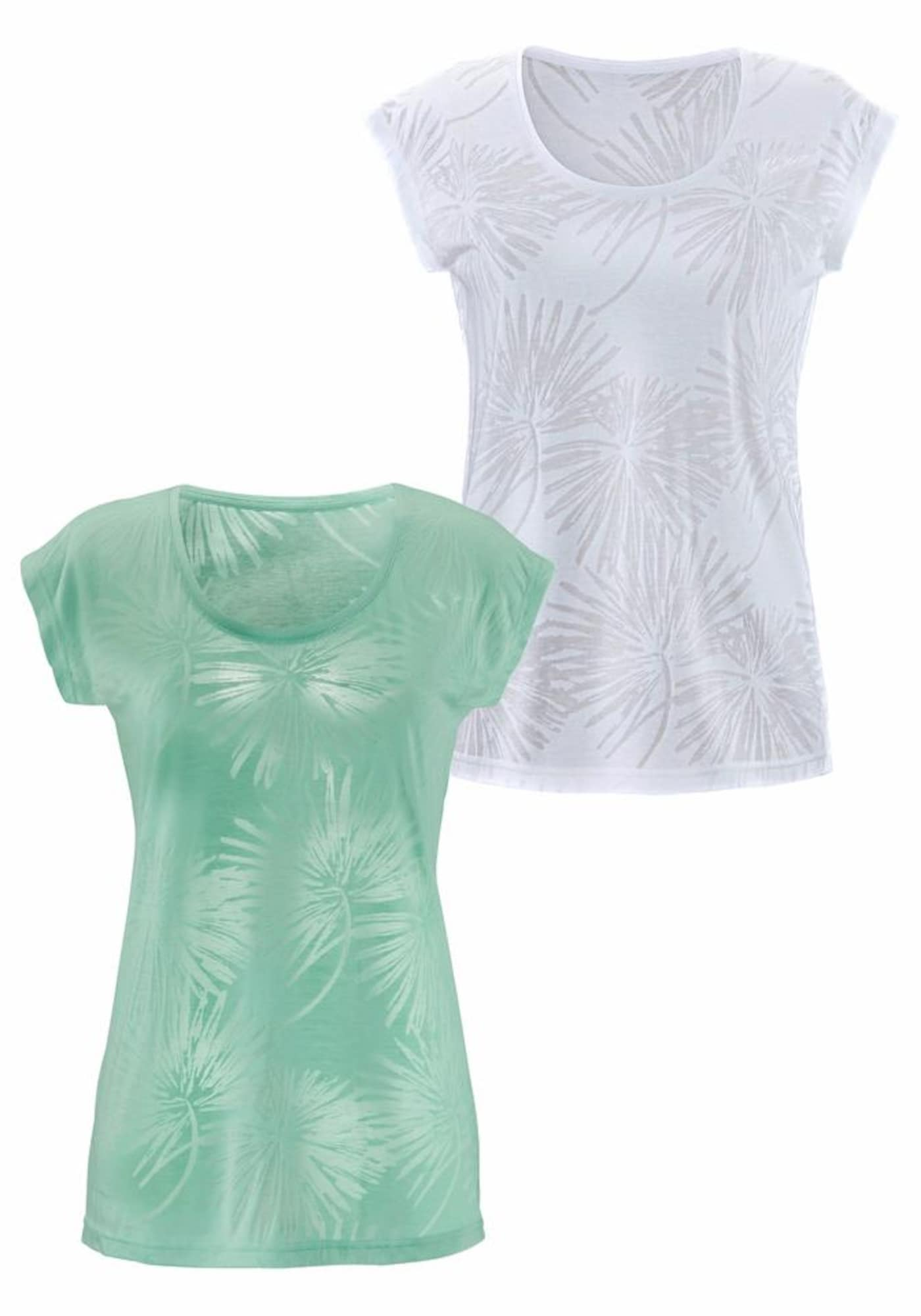 BEACH TIME Marškinėliai mėtų spalva / balta