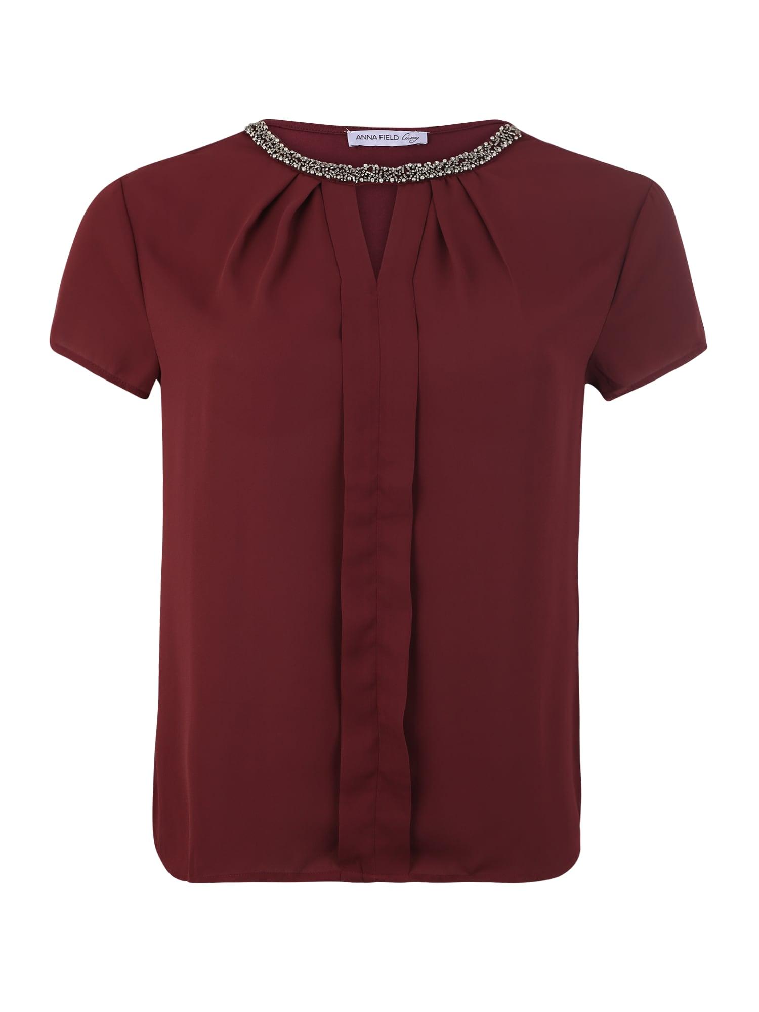 Tričko Pleated woven front t-shirt zlatá burgundská červeň Anna Field Curvy