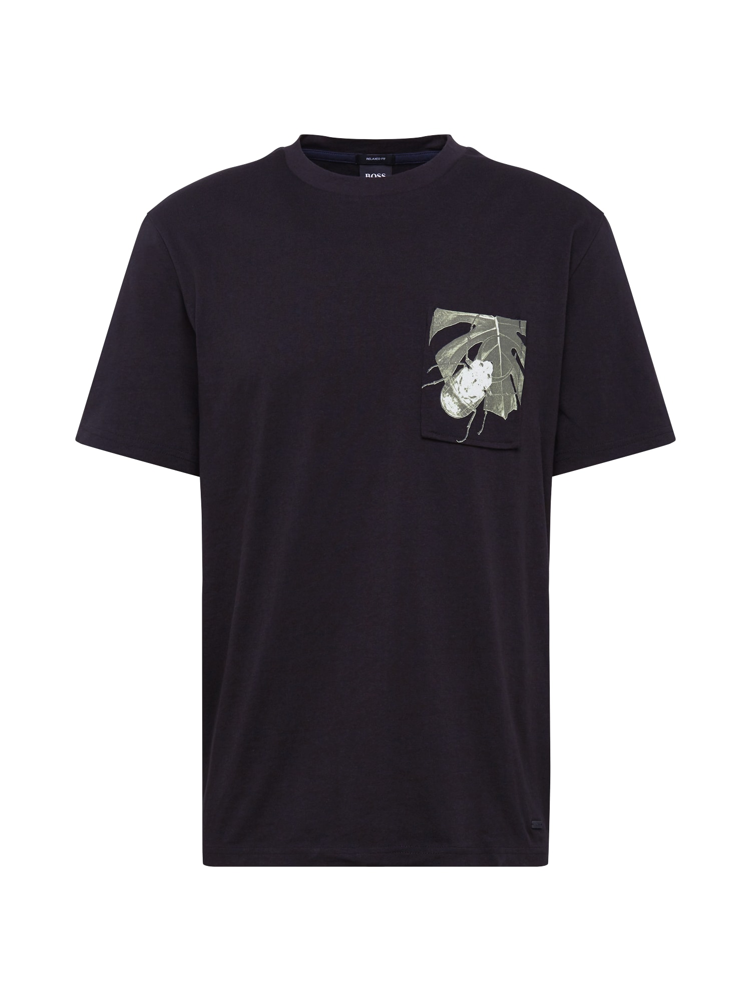 BOSS Marškinėliai 'Texray 1' juoda / rusvai žalia / balta