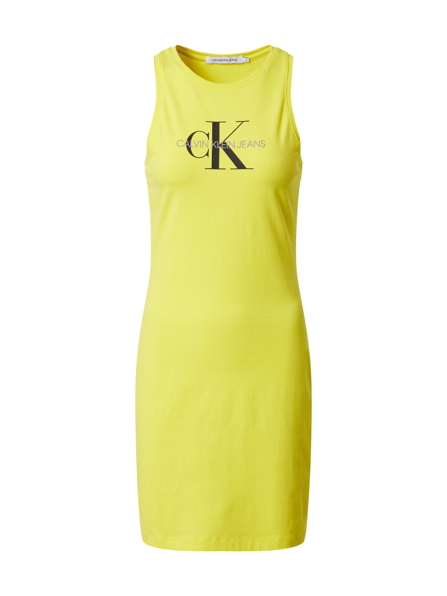Calvin Klein Jeans Suknelė juoda / žaliosios citrinos spalva