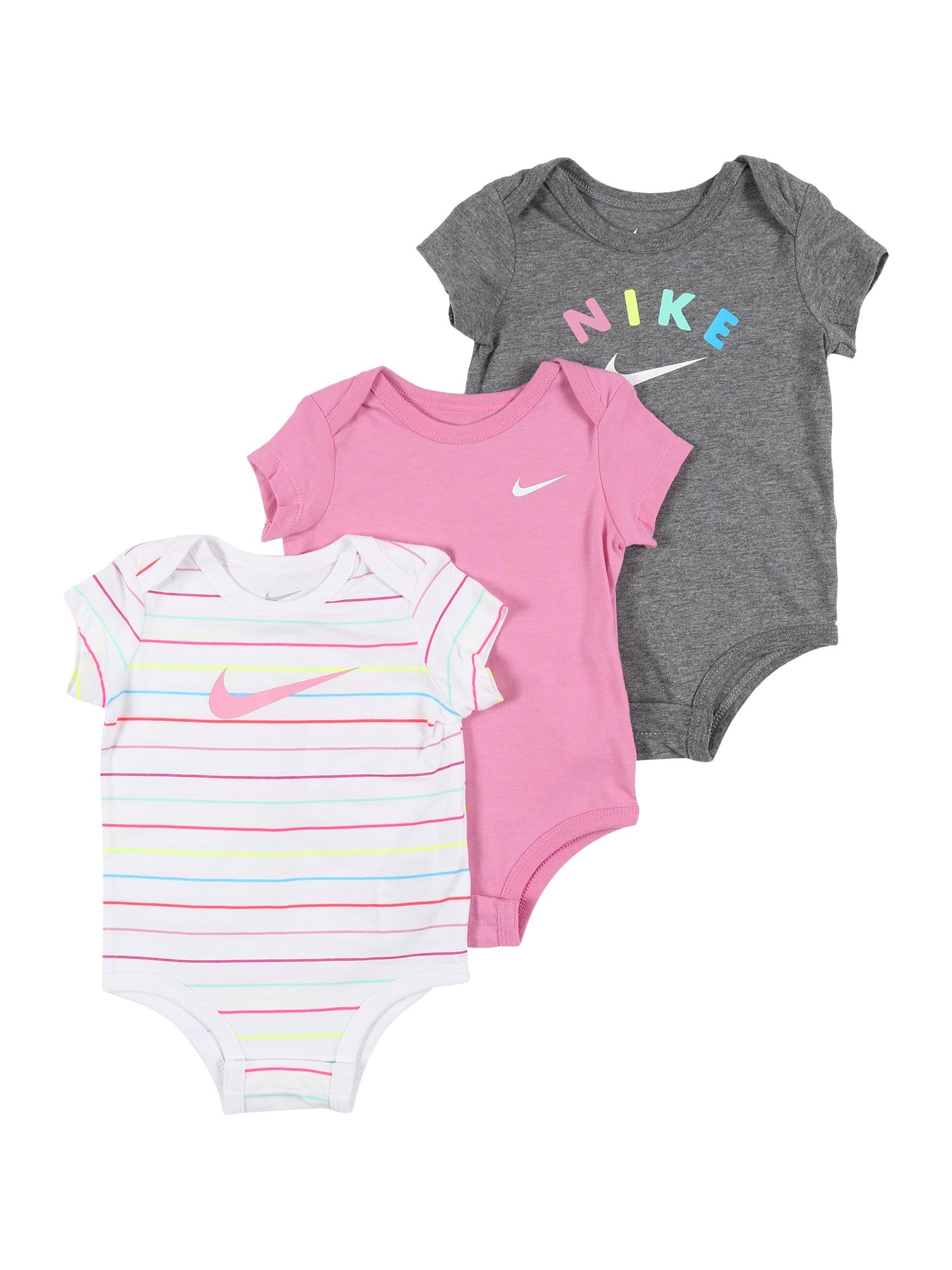 Nike Sportswear Šliaužtinukas / glaustinukė 'RAINBOW STRIPE' balta / rožių spalva / pilka