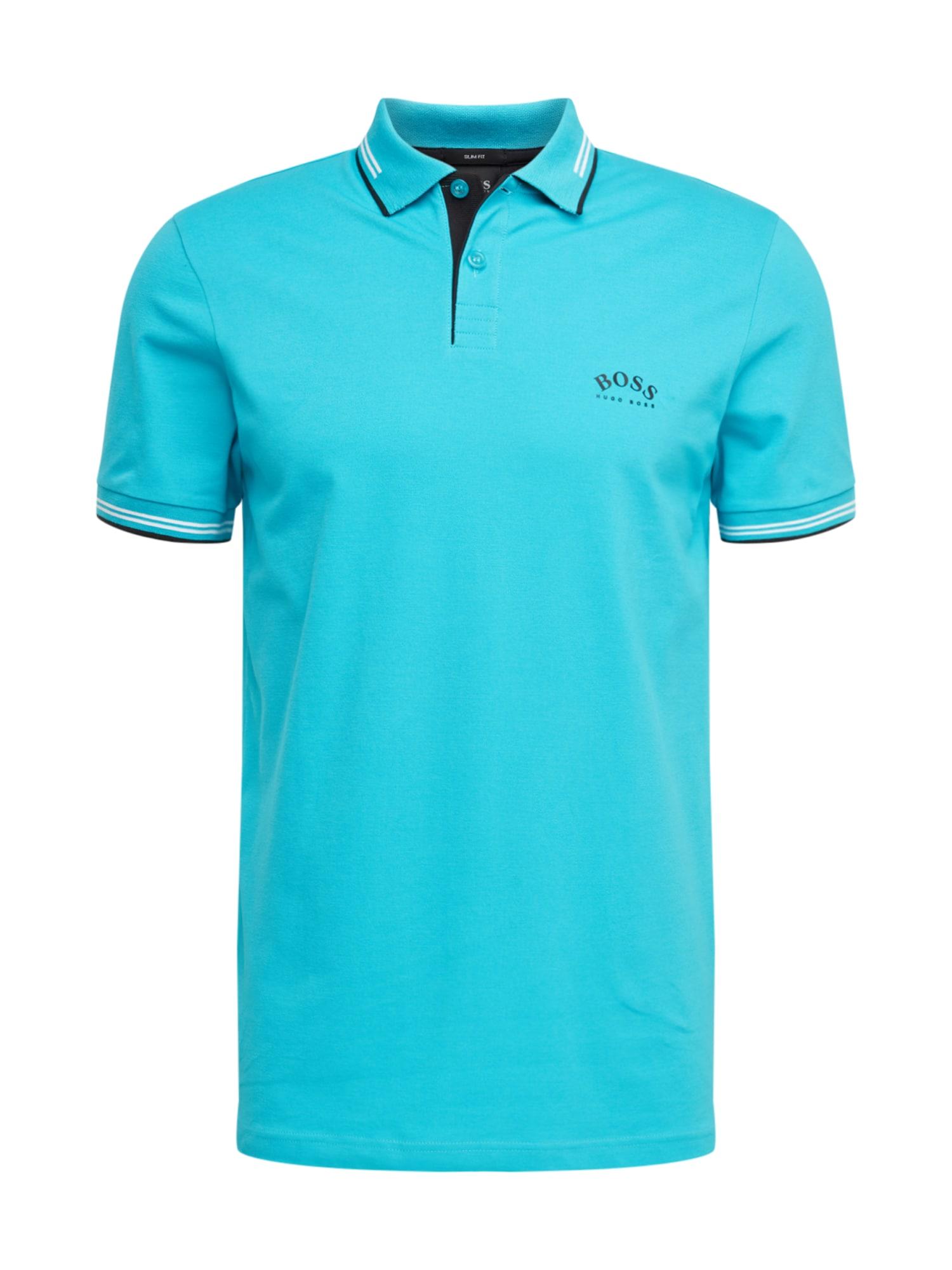 BOSS ATHLEISURE Marškinėliai 'Paul Curved' mėlyna
