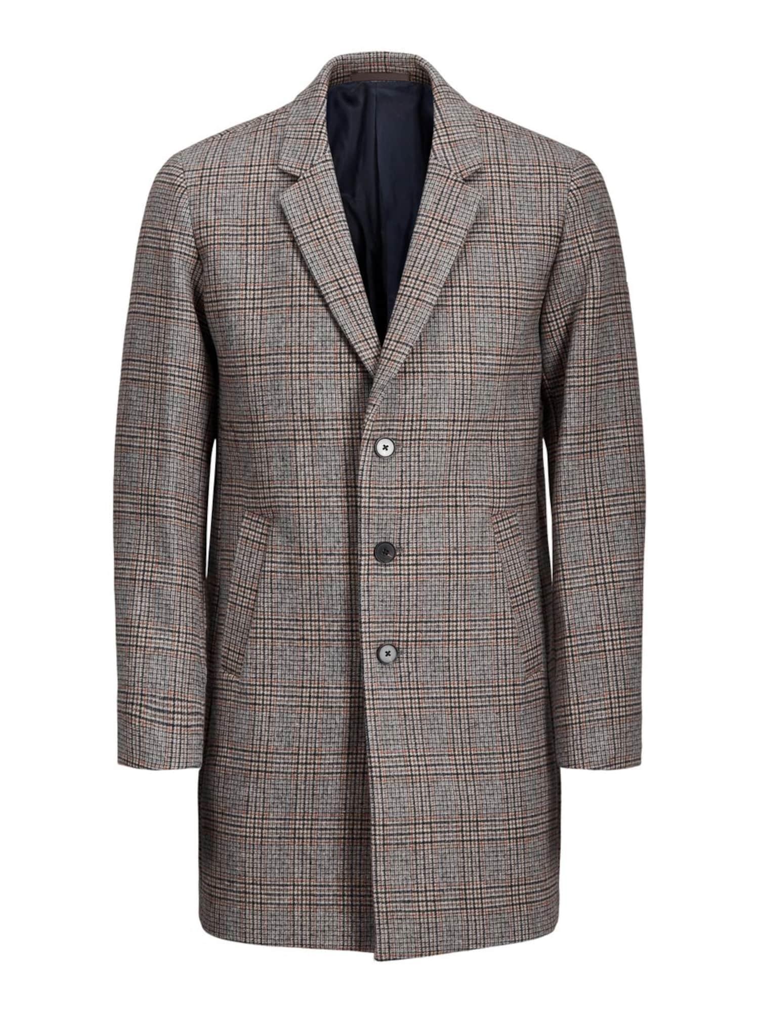 JACK & JONES Rudeninis-žieminis paltas margai ruda / bazalto pilka / margai pilka