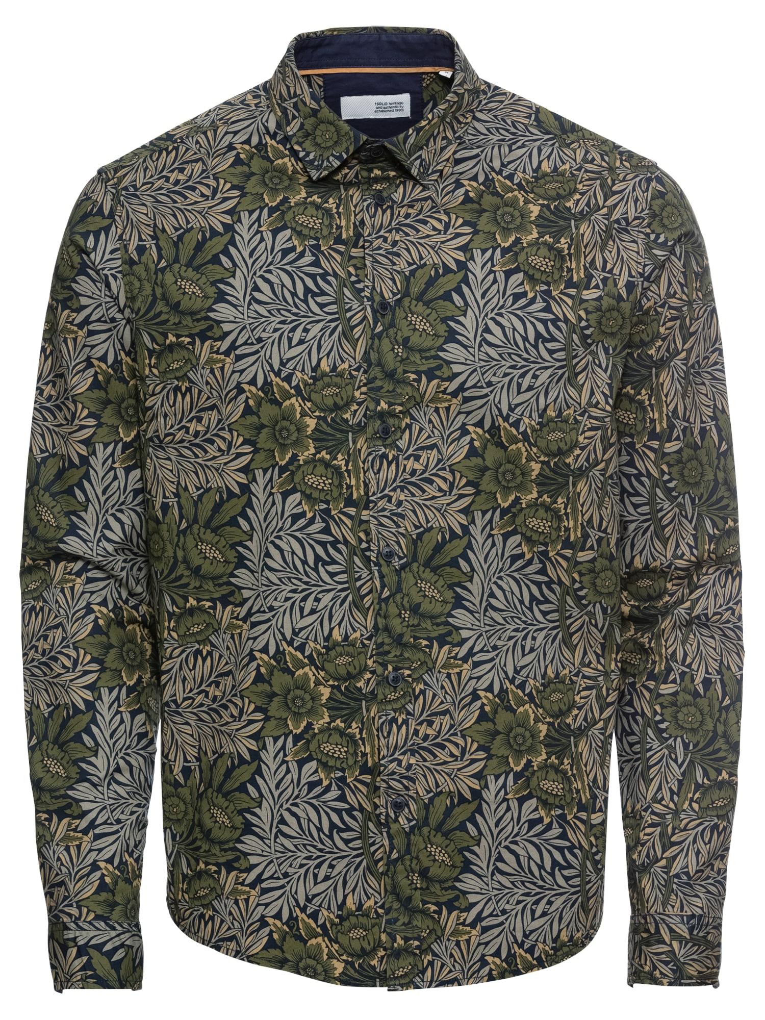 Košile Juan Flower LS béžová khaki olivová !Solid