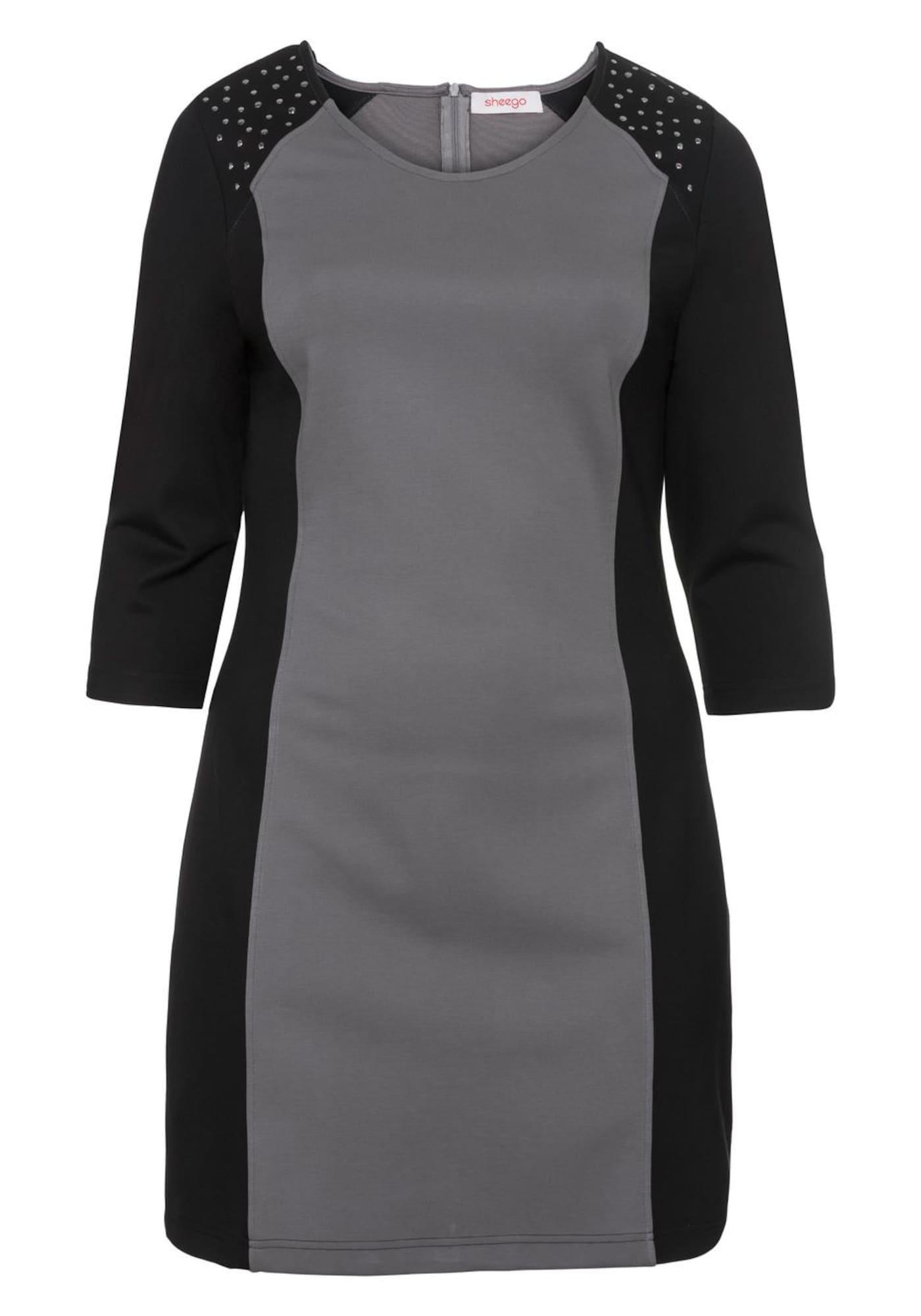 731 46 bis 54 schwarz weiß Sheego Kleid Jerseykleid Damen Viskose Gr 058