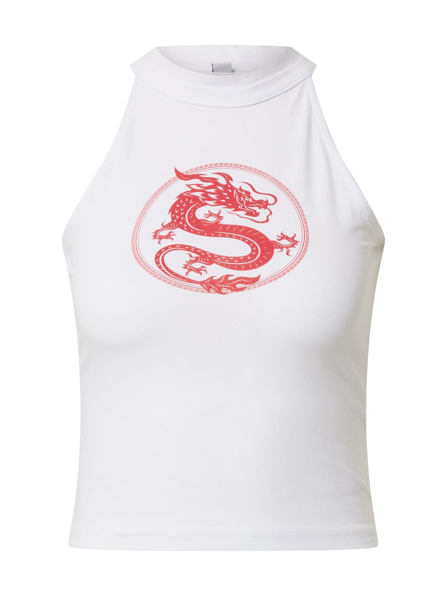 Merchcode Palaidinė be rankovių 'Ladies Dragon Turtleneck Short Top' balta