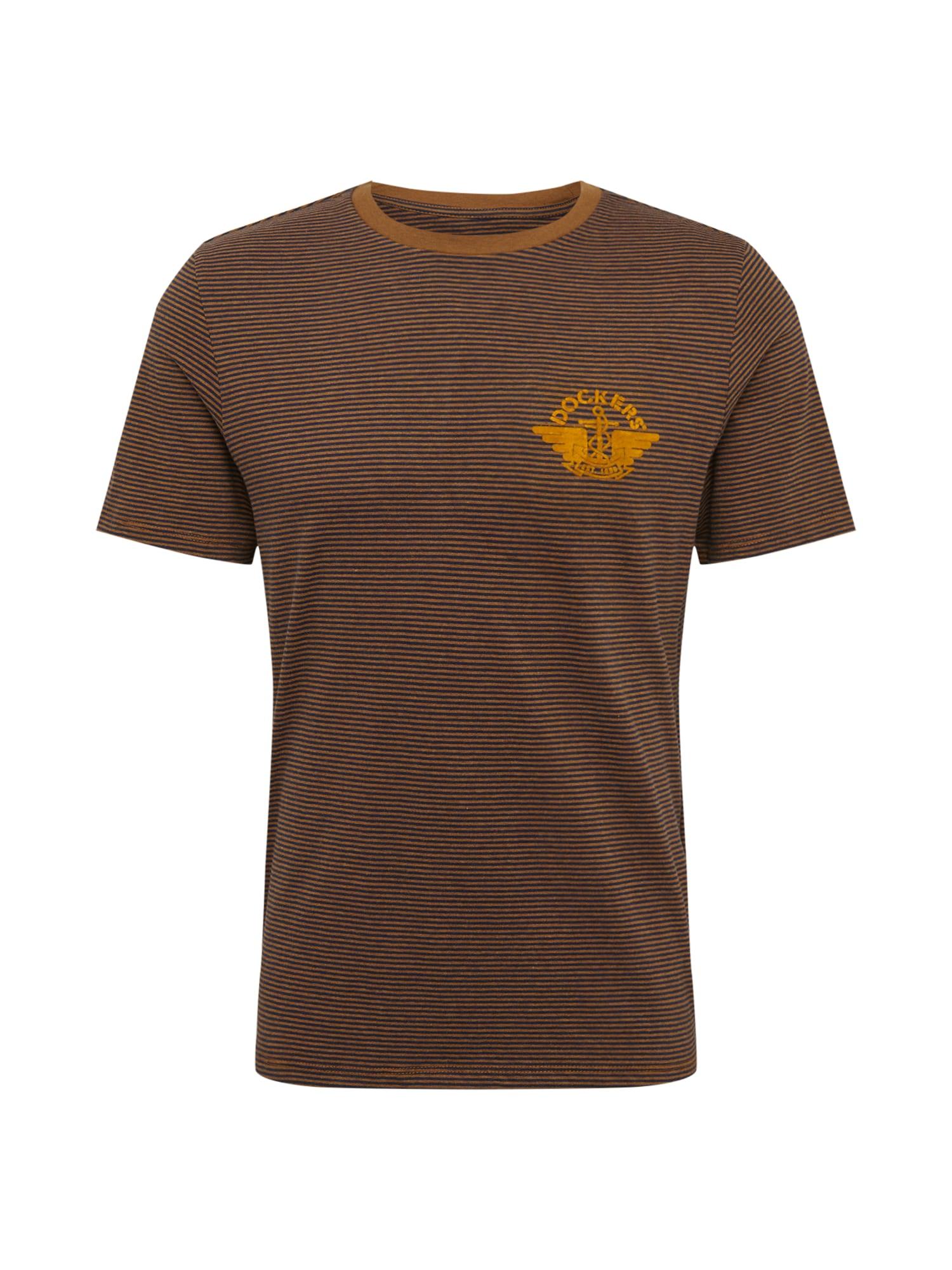 Dockers Marškinėliai tamsiai mėlyna / medaus spalva / ruda