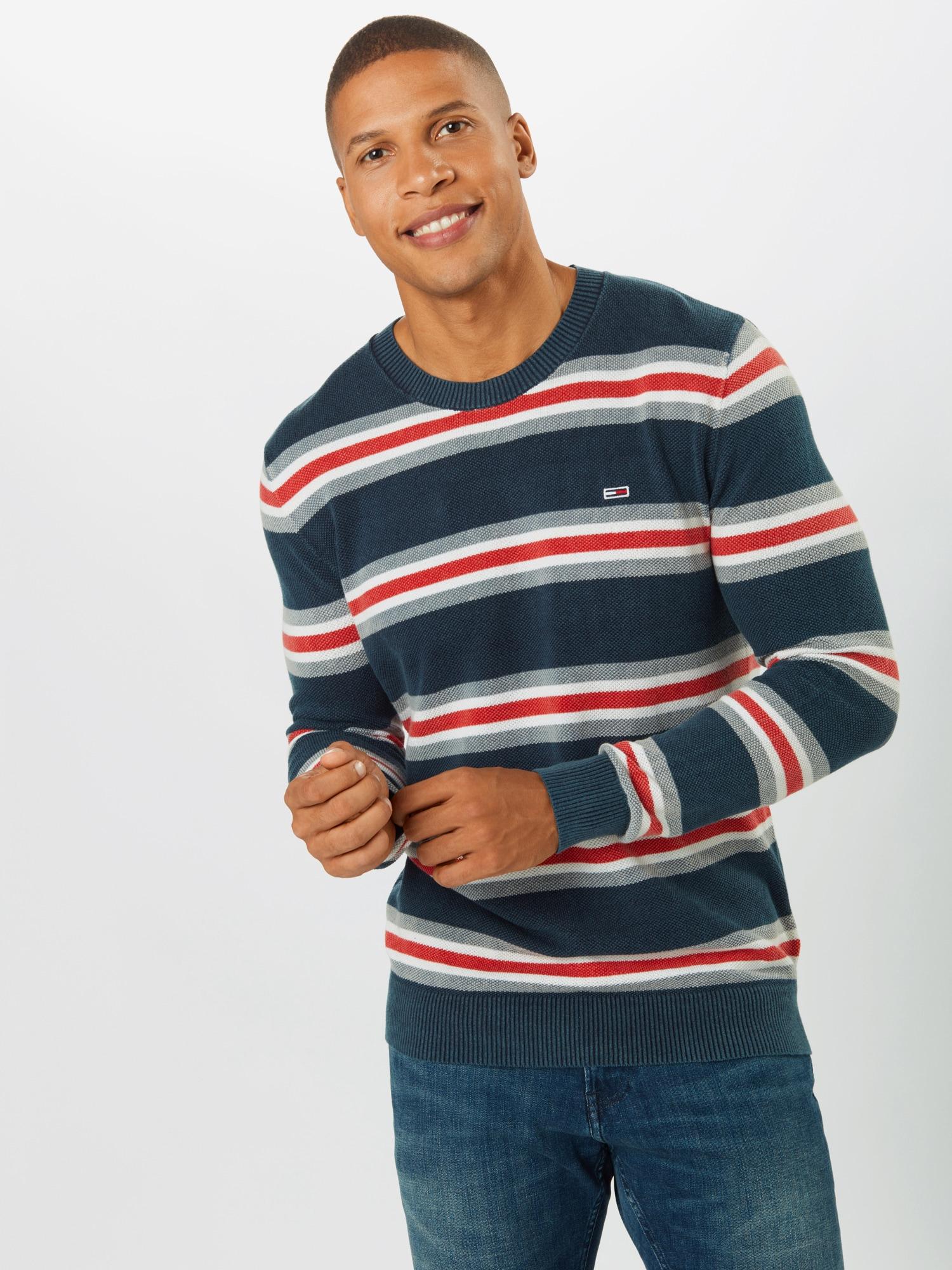 Tommy Jeans Tröja  röd / marinblå / vit / grå