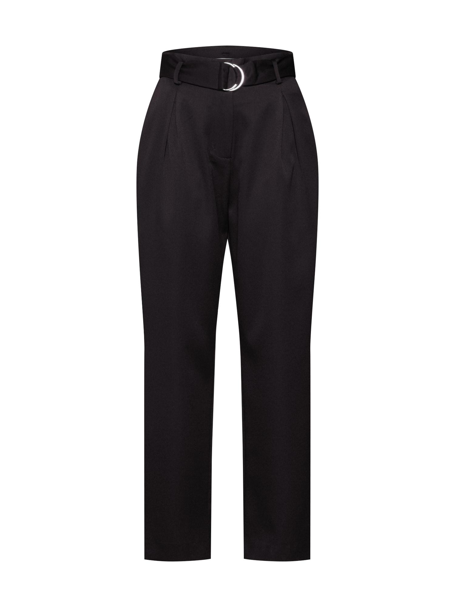 Kalhoty se sklady v pase EA0420 černá GLAMOROUS