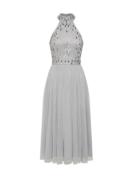 Festtagsmode für Frauen - LACE BEADS Kleid 'Cecilia Midi' grau  - Onlineshop ABOUT YOU