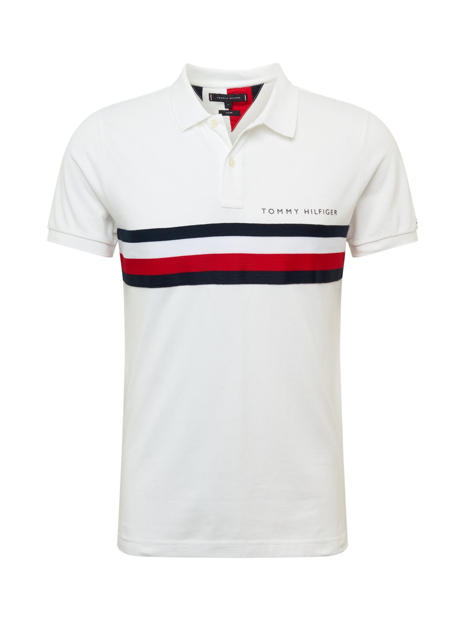 TOMMY HILFIGER Tričko  biela / námornícka modrá / červené