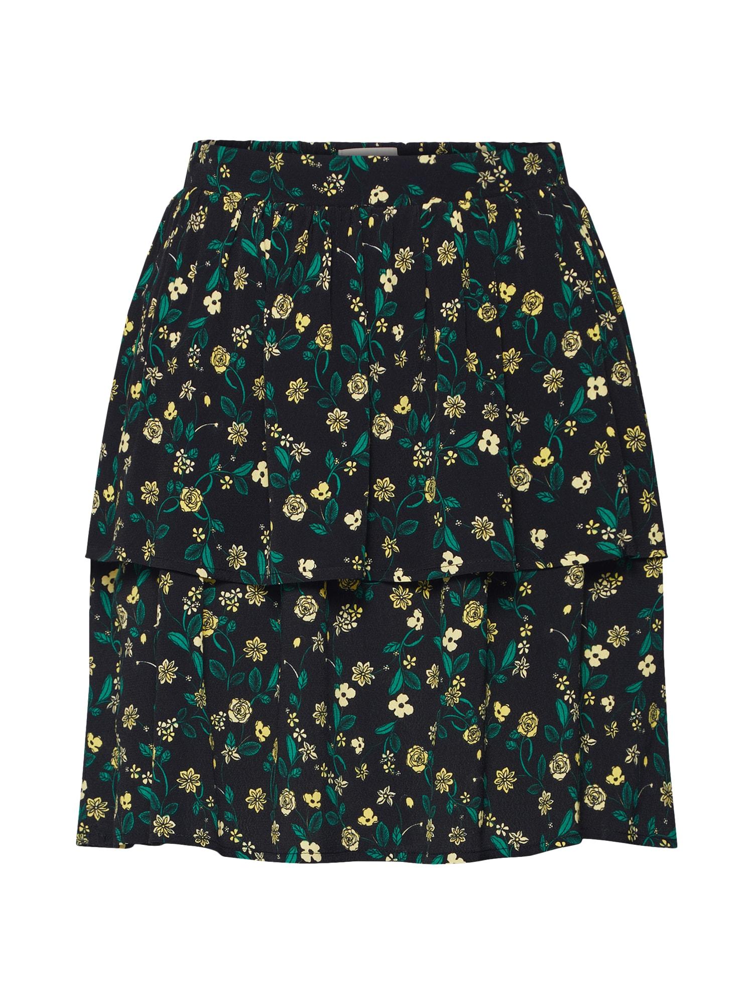 Sukně Laylo žlutá tmavě zelená černá Minimum