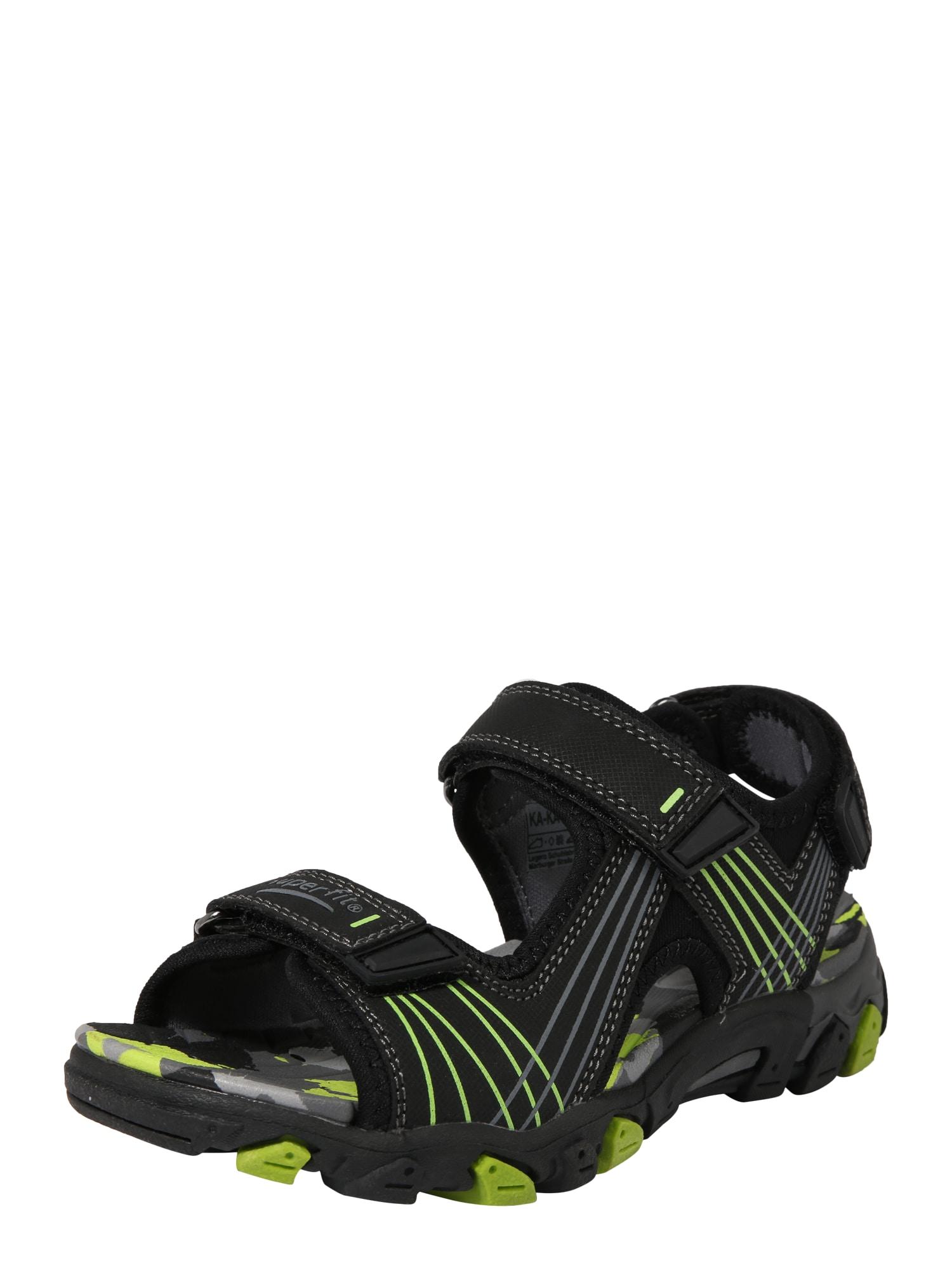 Otevřená obuv HENRY svítivě zelená černá SUPERFIT