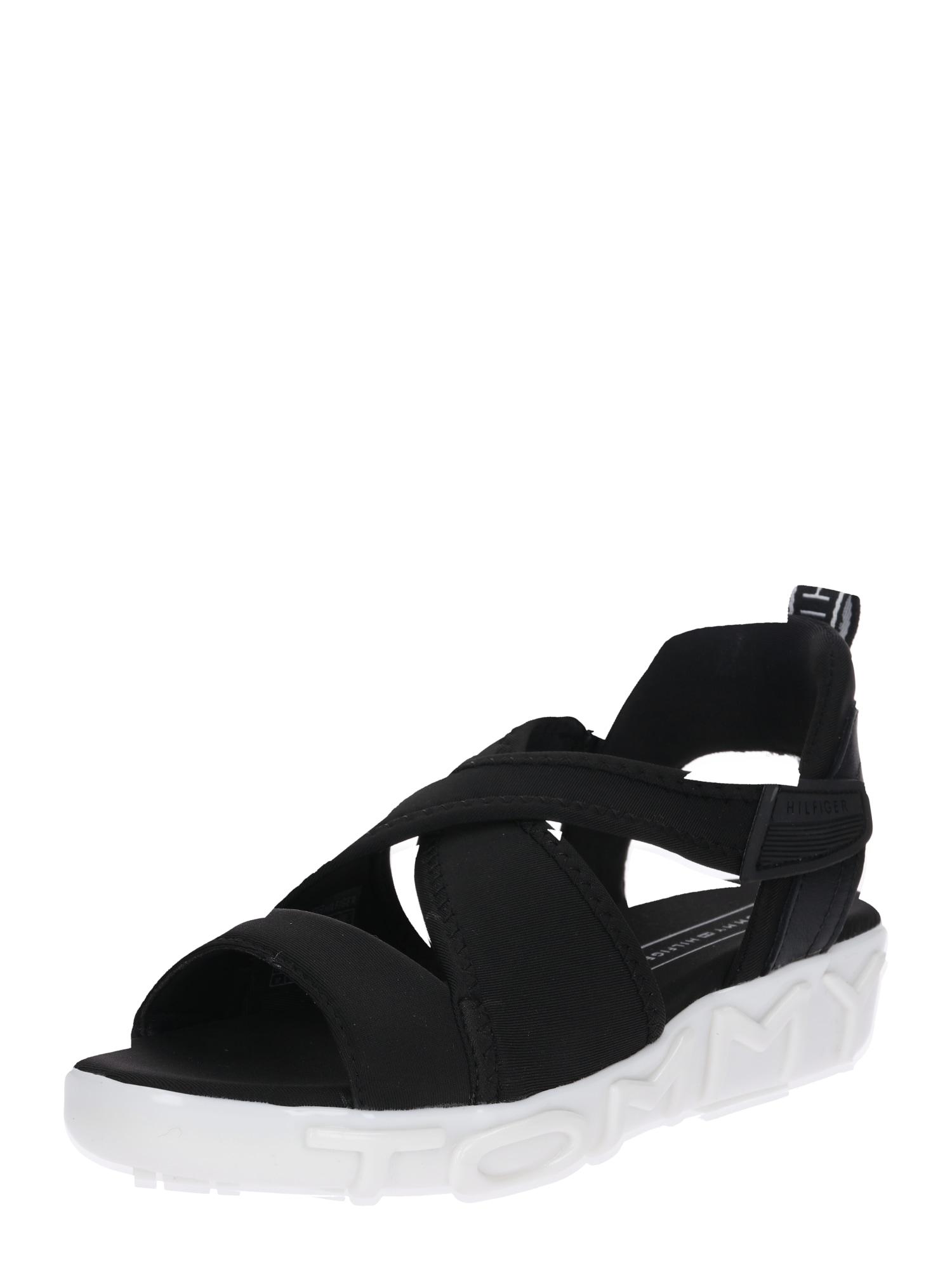 Sandály černá bílá TOMMY HILFIGER
