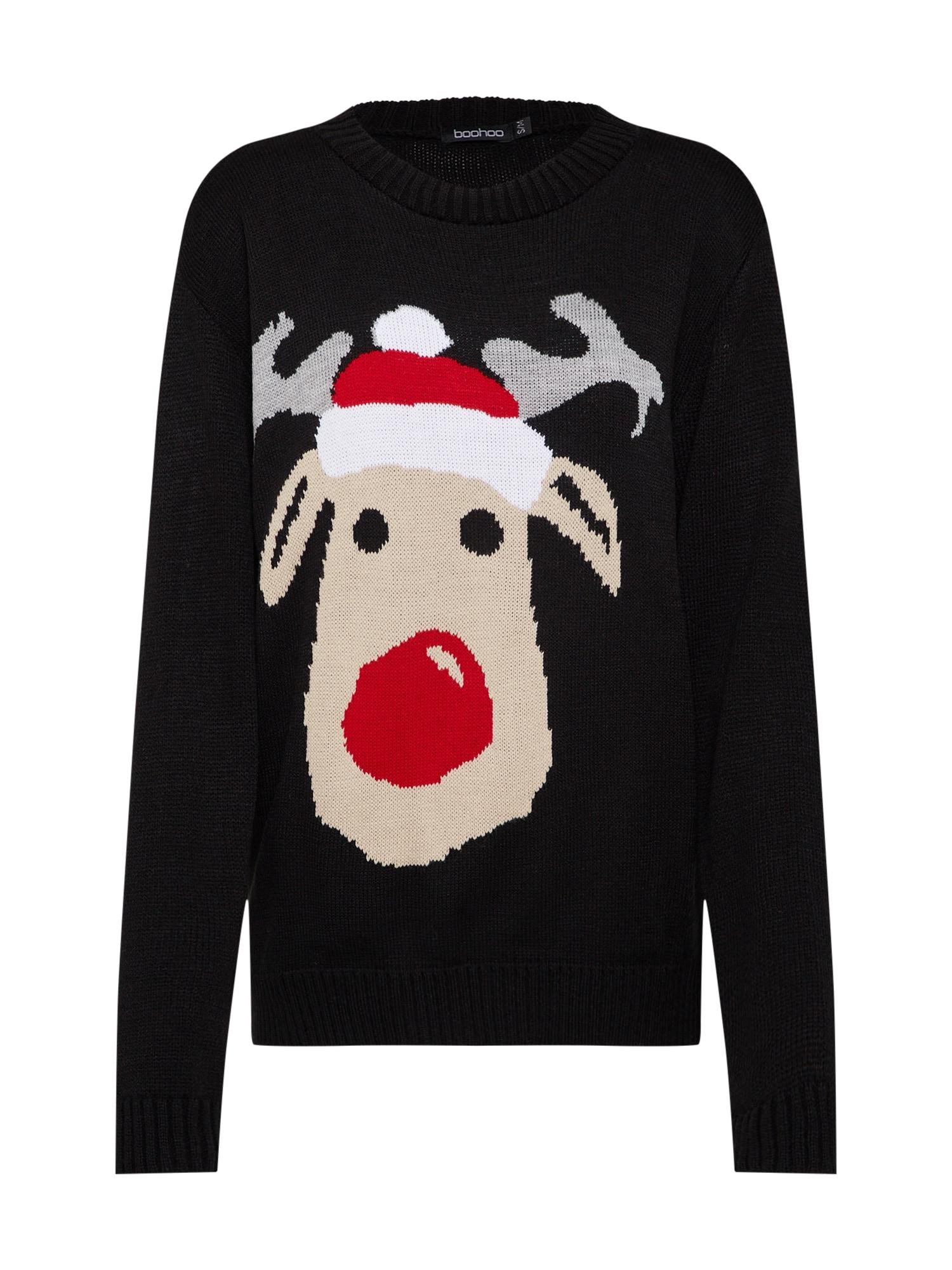 Boohoo Svetr 'Sasha Reindeer Christmas Jumper'  černá