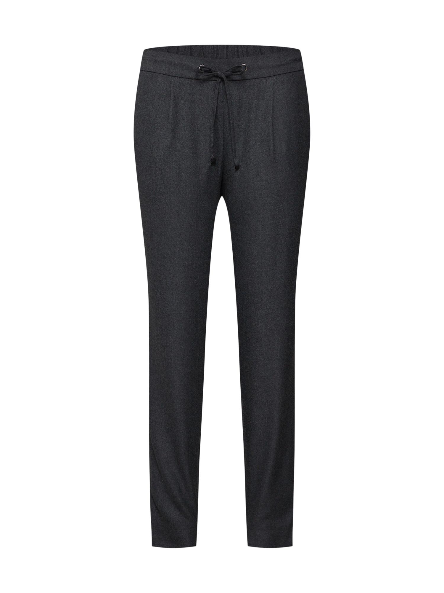 Kalhoty se sklady v pase tmavě šedá ESPRIT