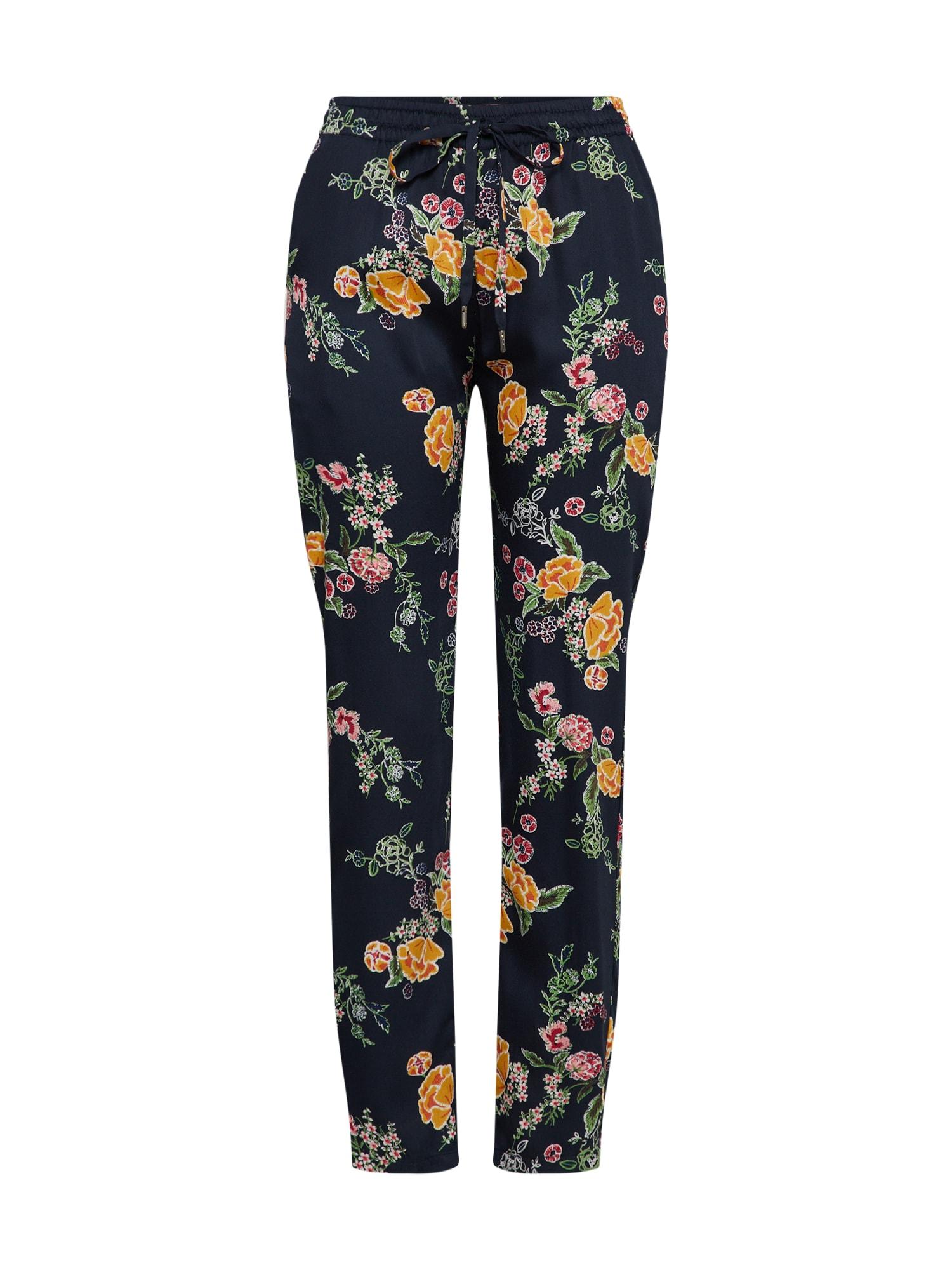 Kalhoty se sklady v pase námořnická modř žlutá OBJECT