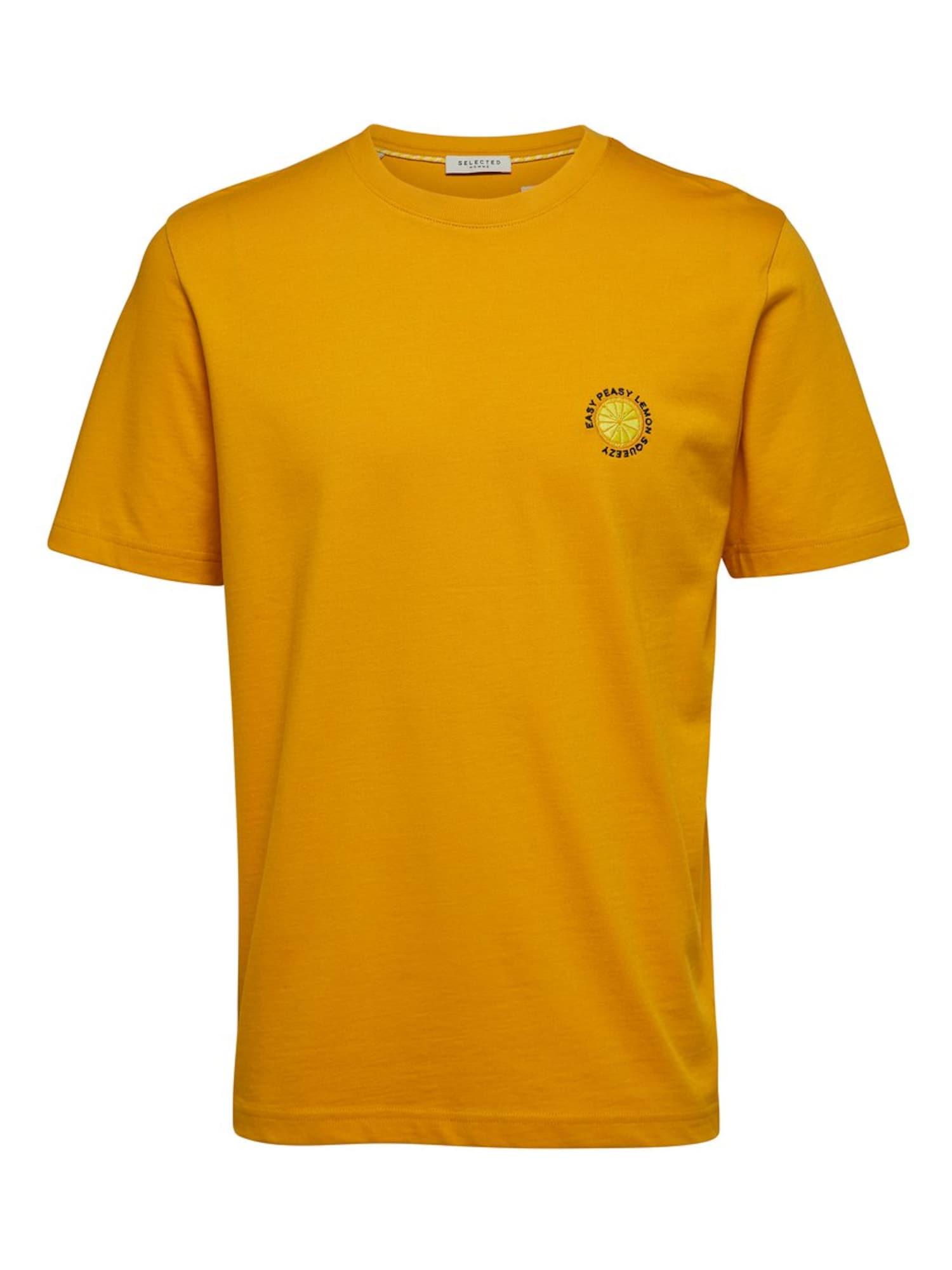 SELECTED HOMME Marškinėliai aukso geltonumo spalva