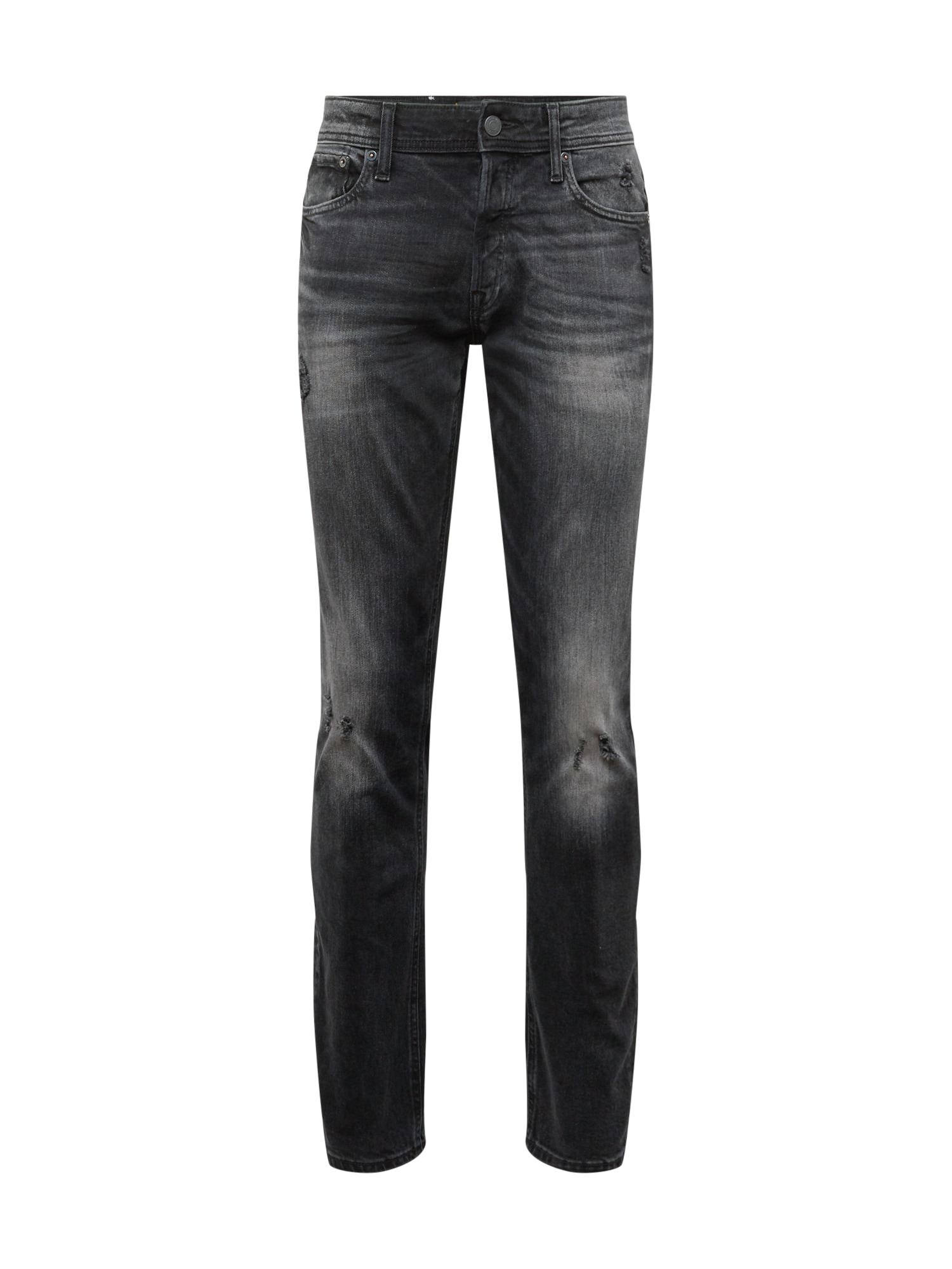 JACK & JONES Džinsai 'IGLENN' juodo džinso spalva