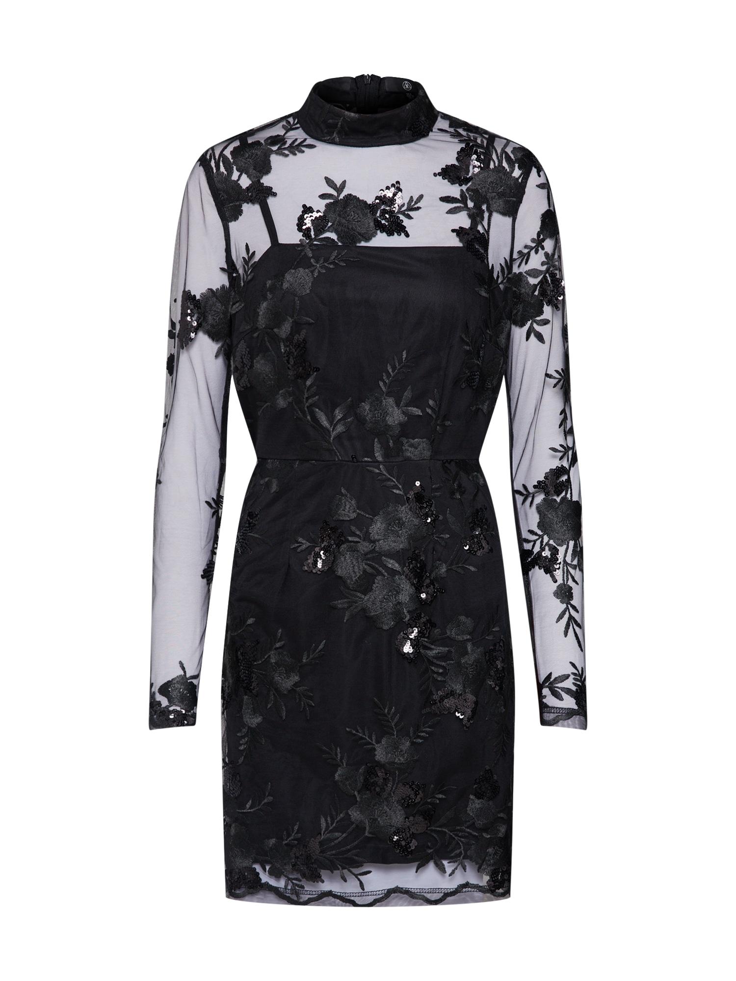 Koktejlové šaty Lace Sequin Bodycon Long Sleeved černá Missguided