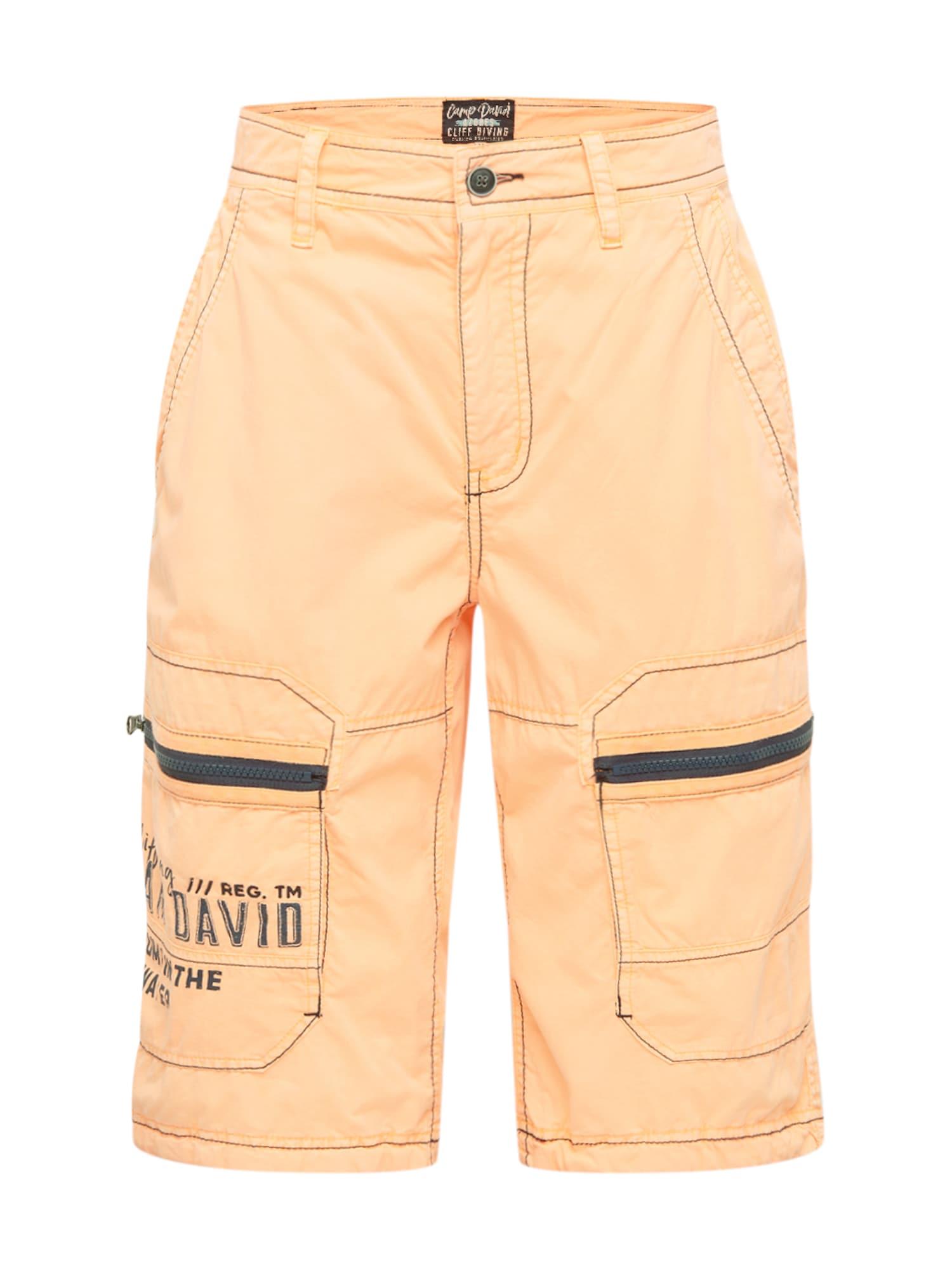 CAMP DAVID Laisvo stiliaus kelnės šviesiai oranžinė / juoda