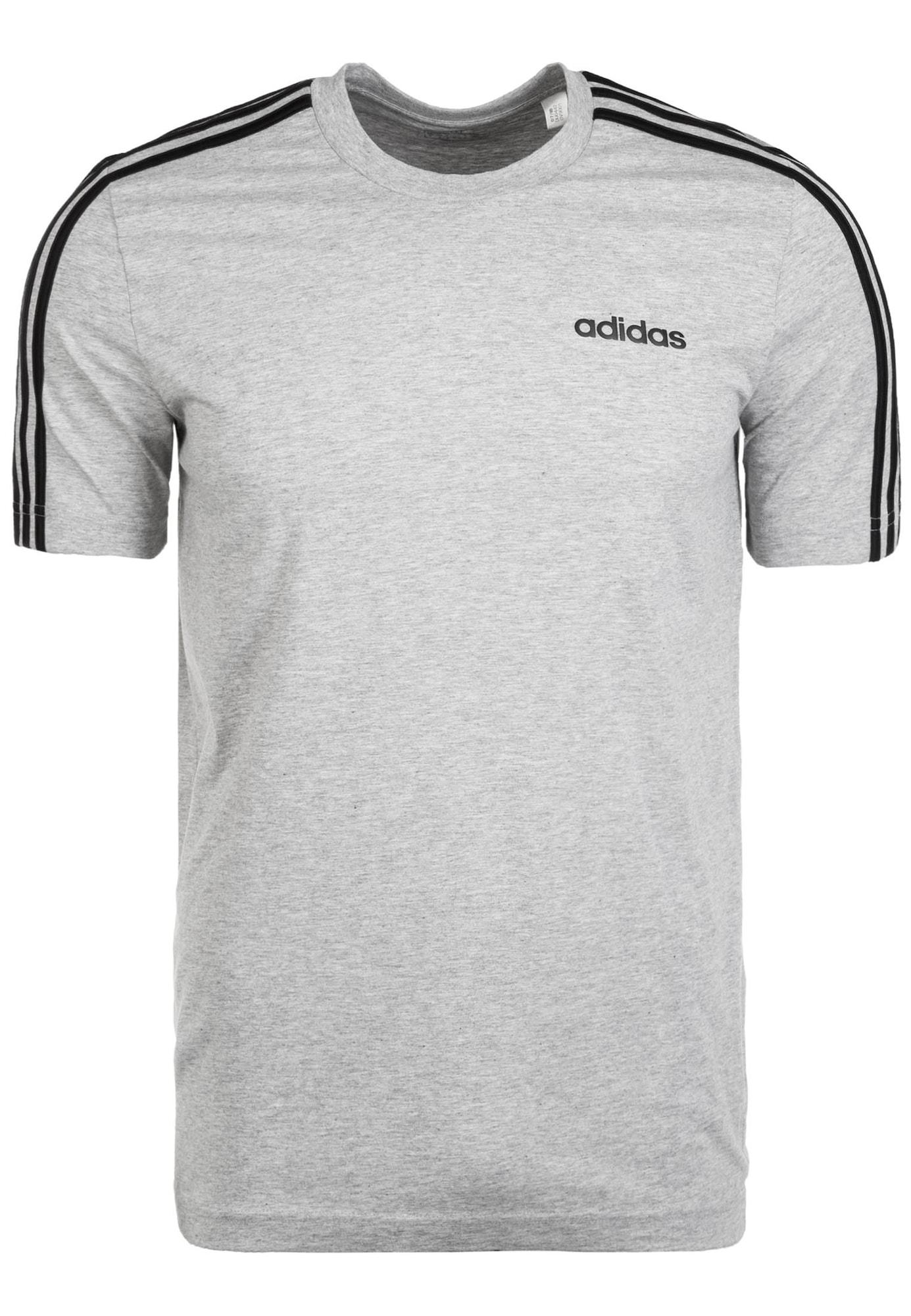ADIDAS PERFORMANCE Sportiniai marškinėliai 'Essentials 3 Stripes' juoda / margai pilka