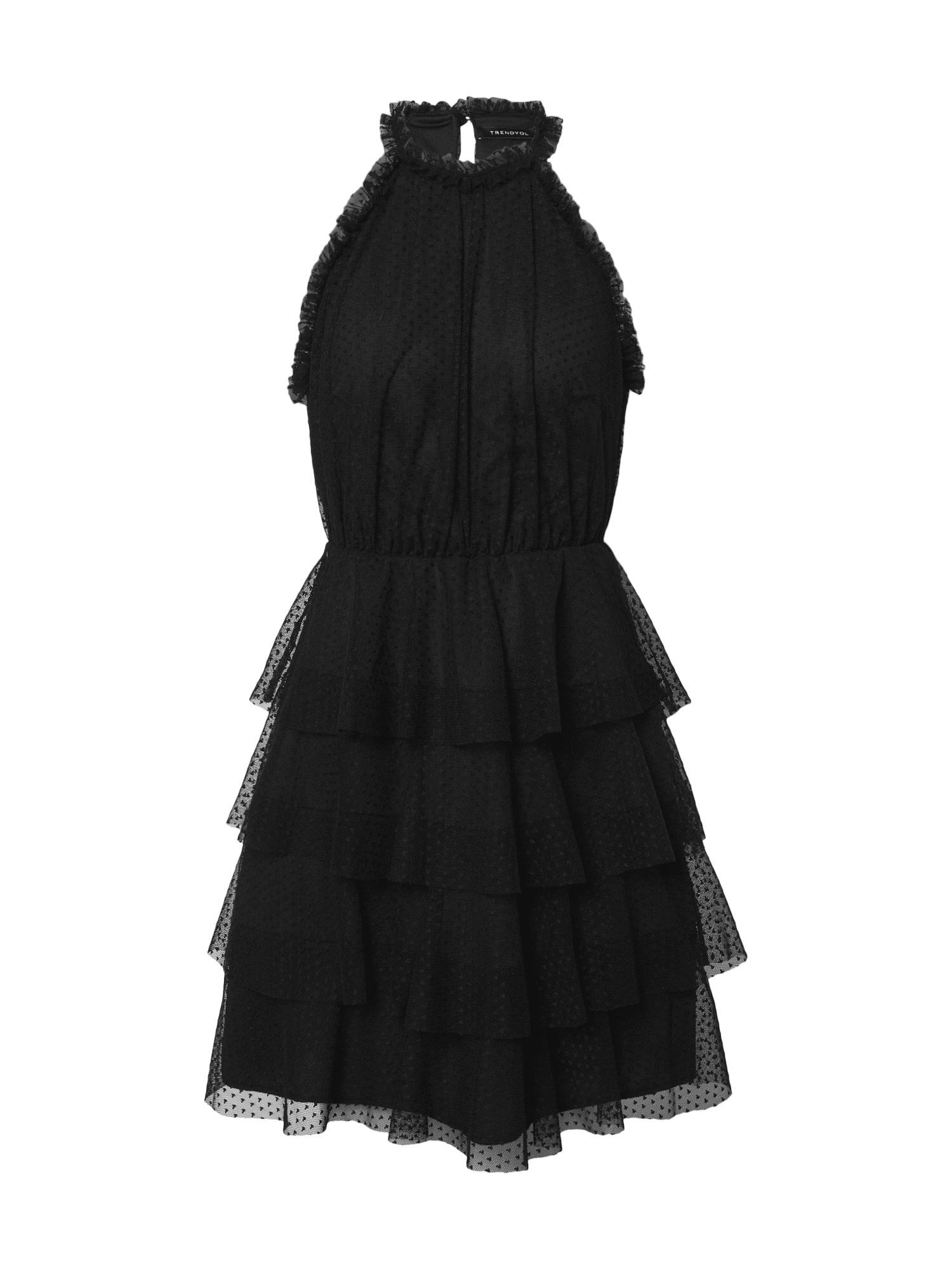 Trendyol Koktejlové šaty  černá