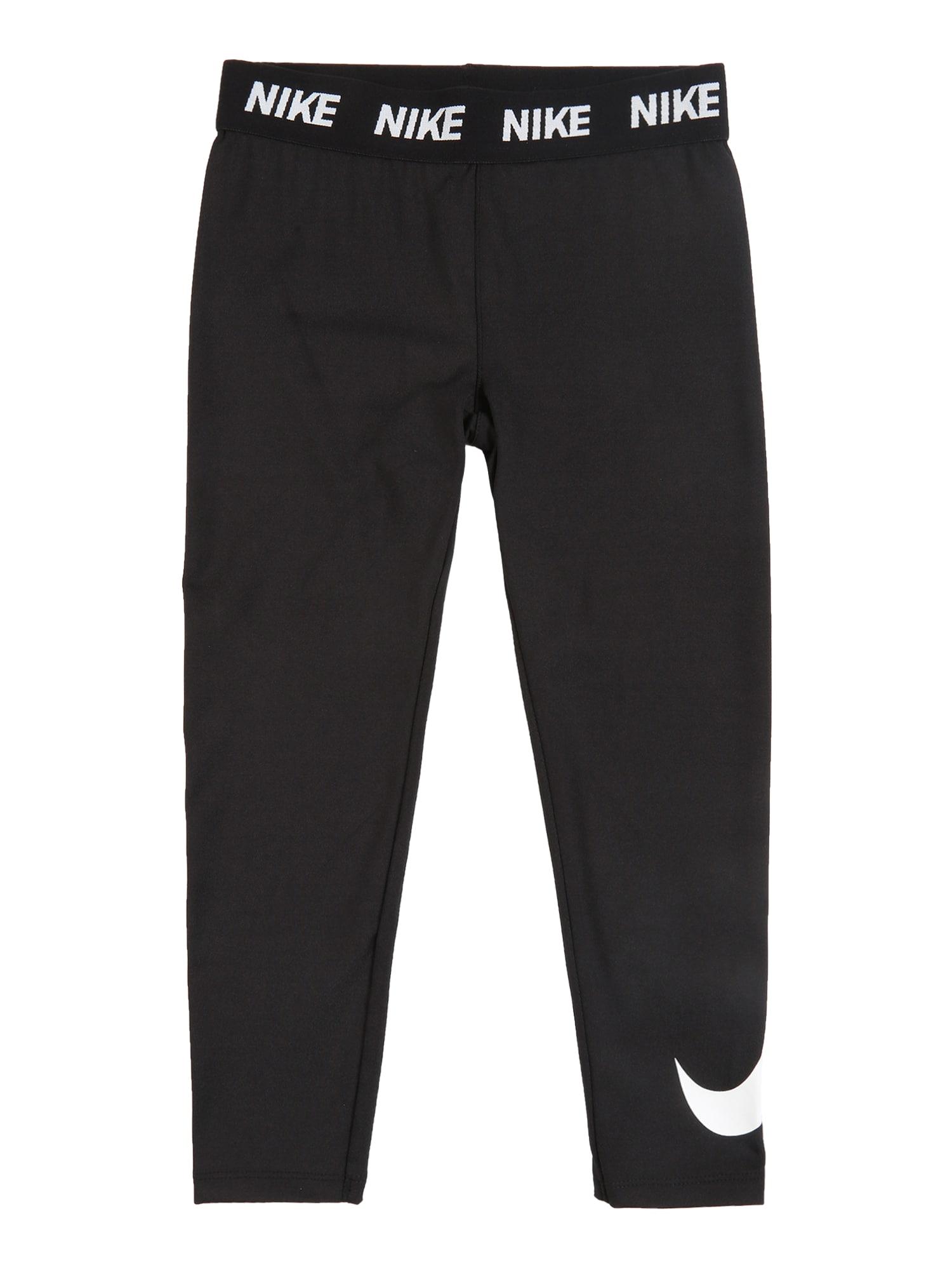 Nike Sportswear Tamprės 'DRI FIT SPORT ESSENTIALS SWOOSH LEGGING' juoda / balta