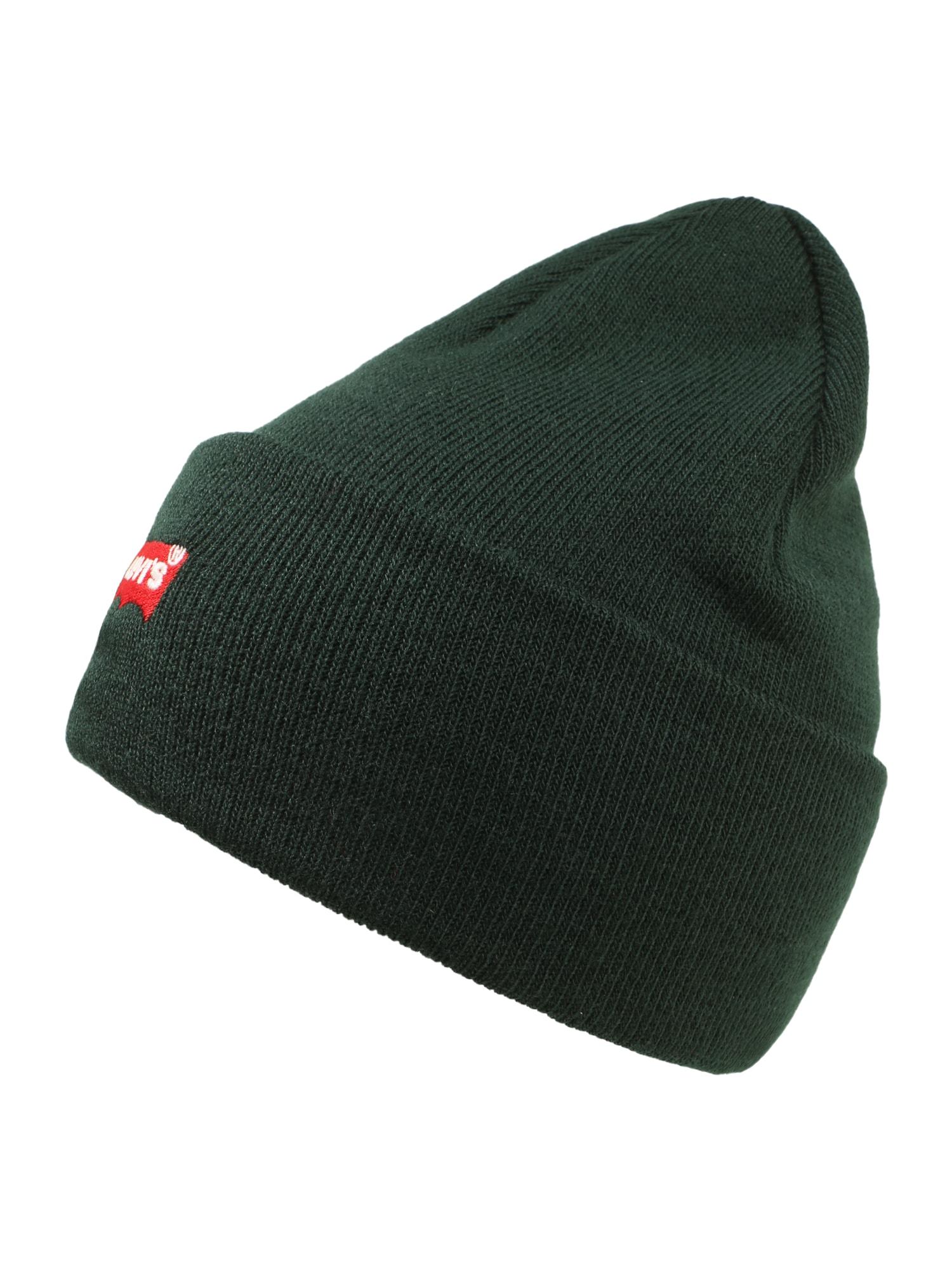 LEVI'S Megzta kepurė 'RED BATWING EMBROIDERED SLOUCHY BEANIE' tamsiai žalia