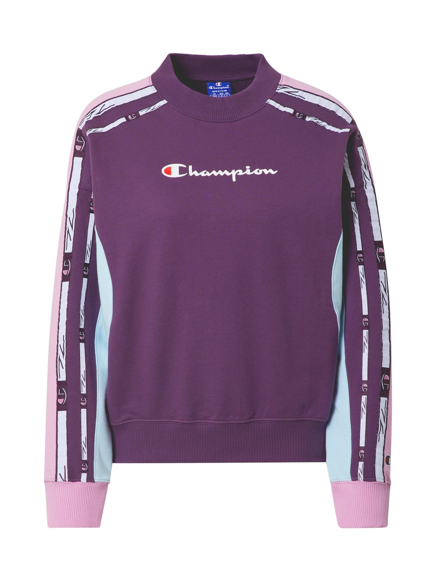 Champion Authentic Athletic Apparel Megztinis be užsegimo tamsiai violetinė / rožių spalva / balta / šviesiai raudona