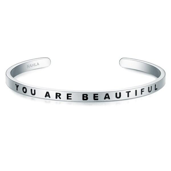 Armbaender für Frauen - Armband mit YOU ARE BEAUTIFUL Schriftzug › Nahla Jewels › schwarz silber  - Onlineshop ABOUT YOU