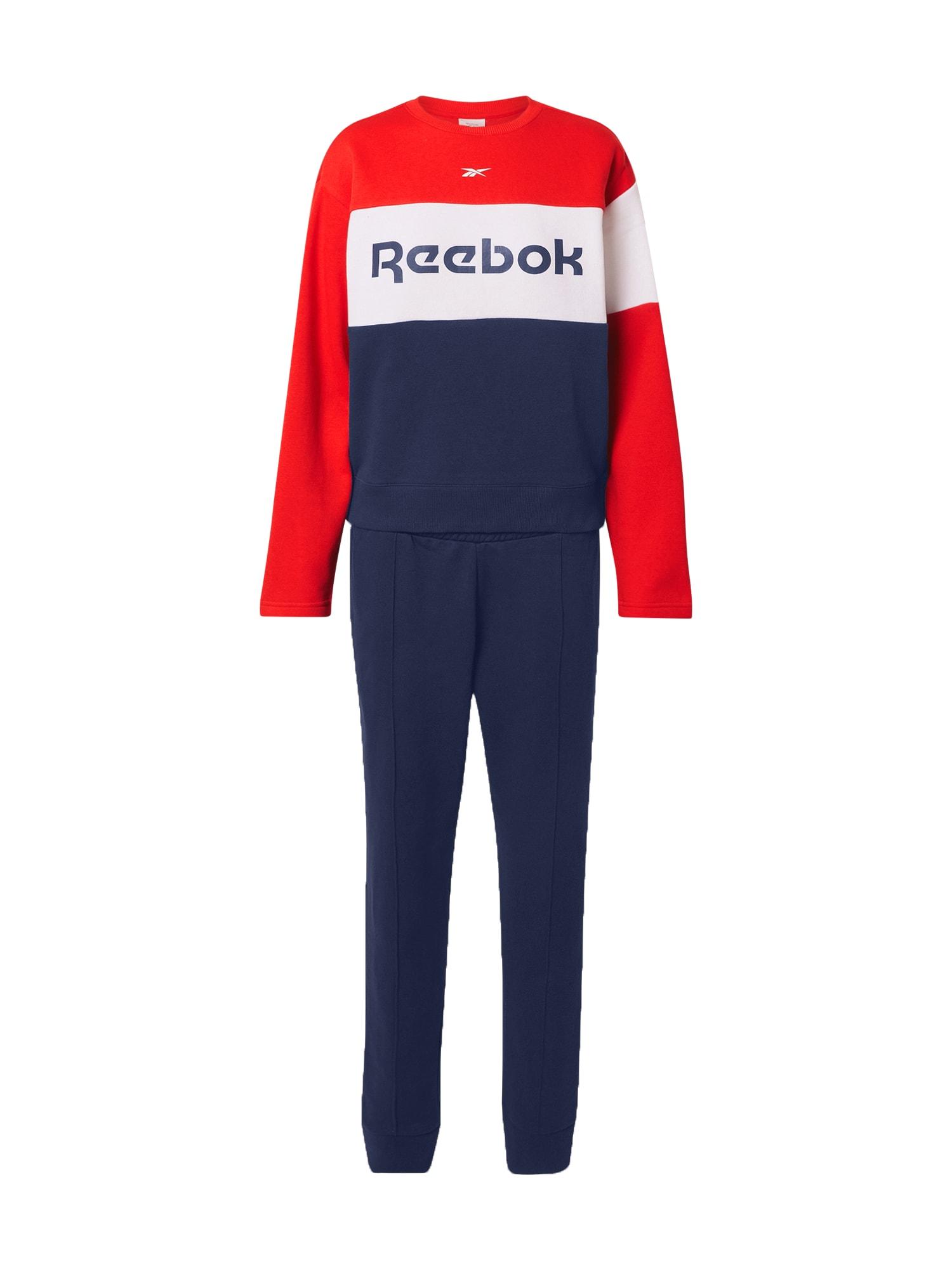 REEBOK Treniruočių kostiumas kraujo spalva / balta / mėlyna