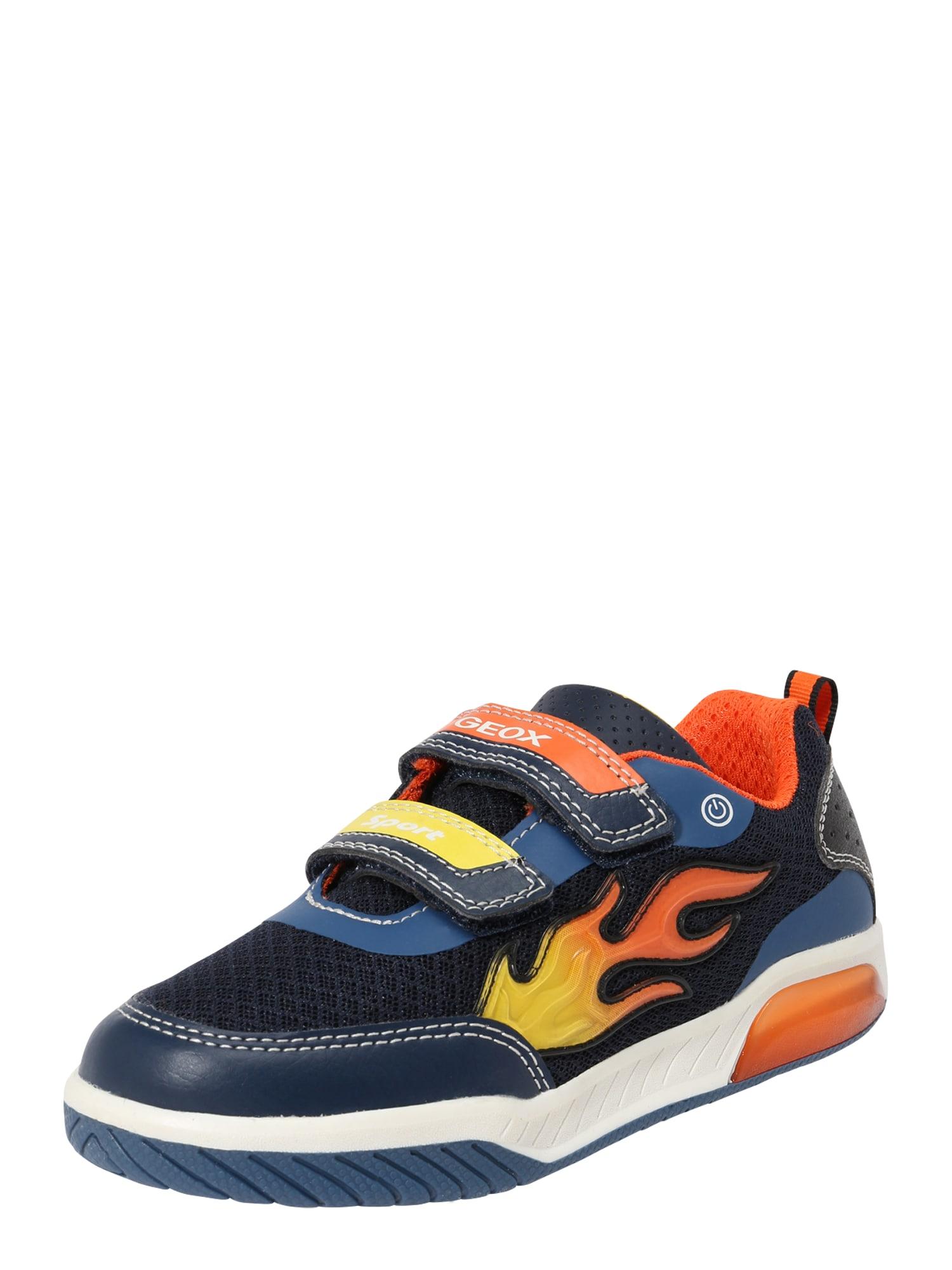 Tenisky Inek námořnická modř žlutá oranžová bílá GEOX Kids