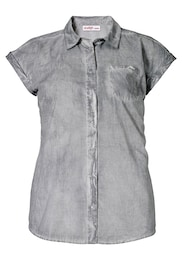 Sheego Casual Damen Oil-Washed Look Casual Bluse grau | 08902823143433