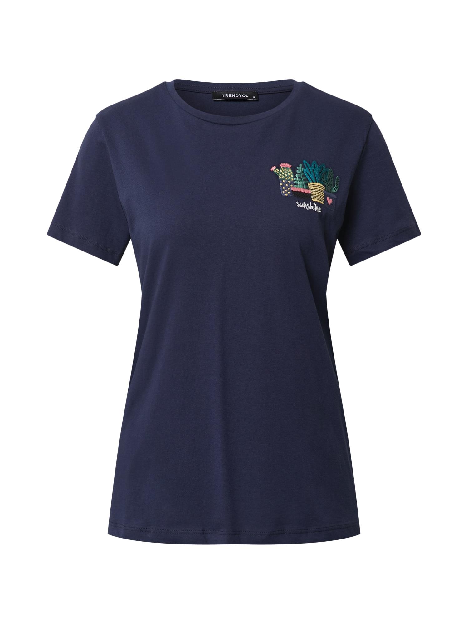 Trendyol Marškinėliai tamsiai mėlyna