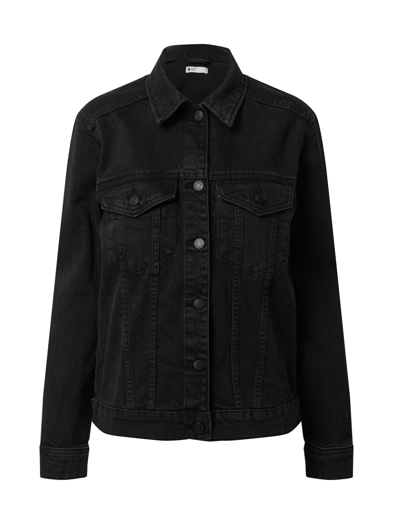 Gina Tricot Demisezoninė striukė juodo džinso spalva