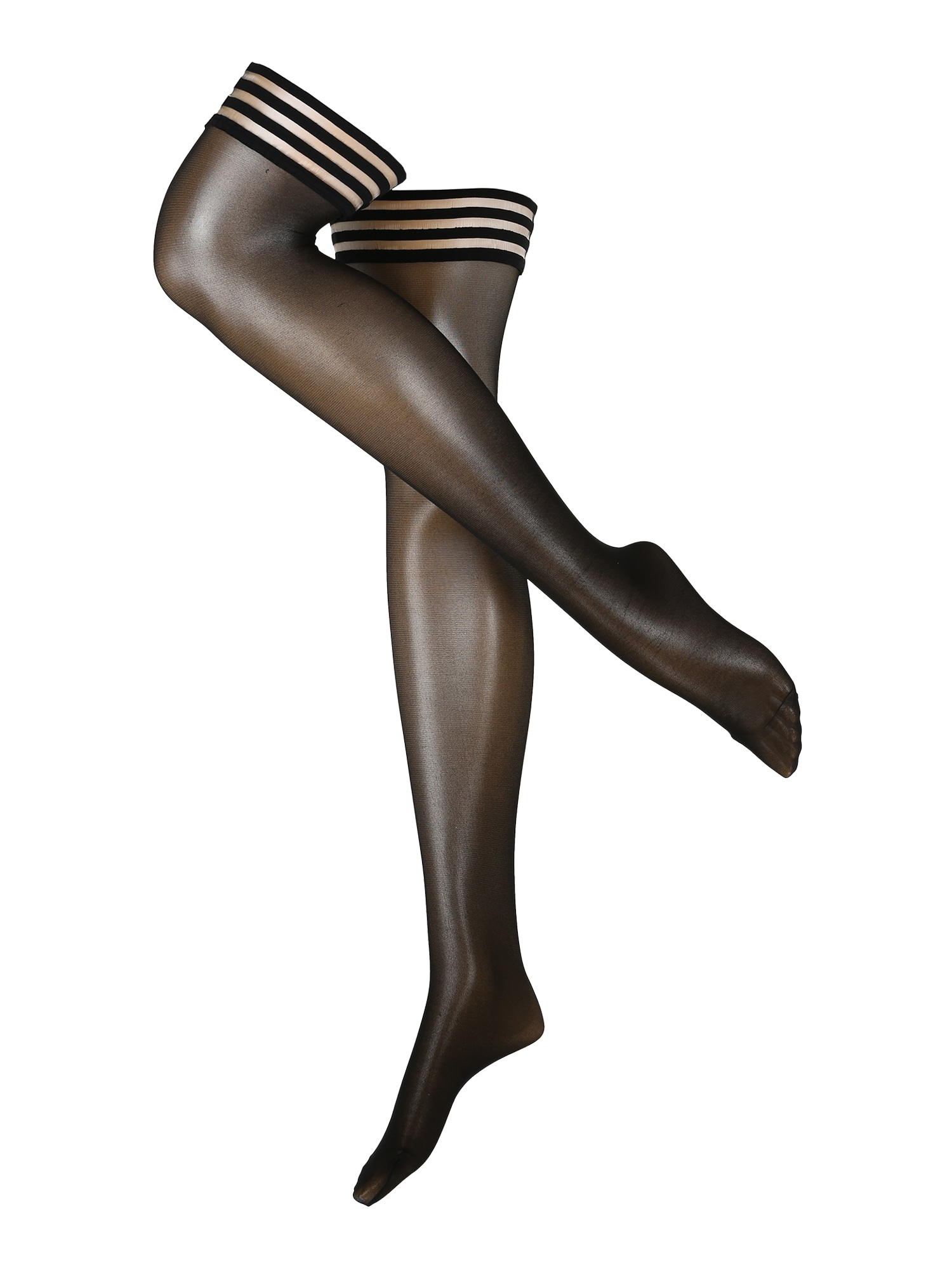 Swedish Stockings Madingos prisegamos kojinės 'Mira Premium Stay Ups Black' juoda